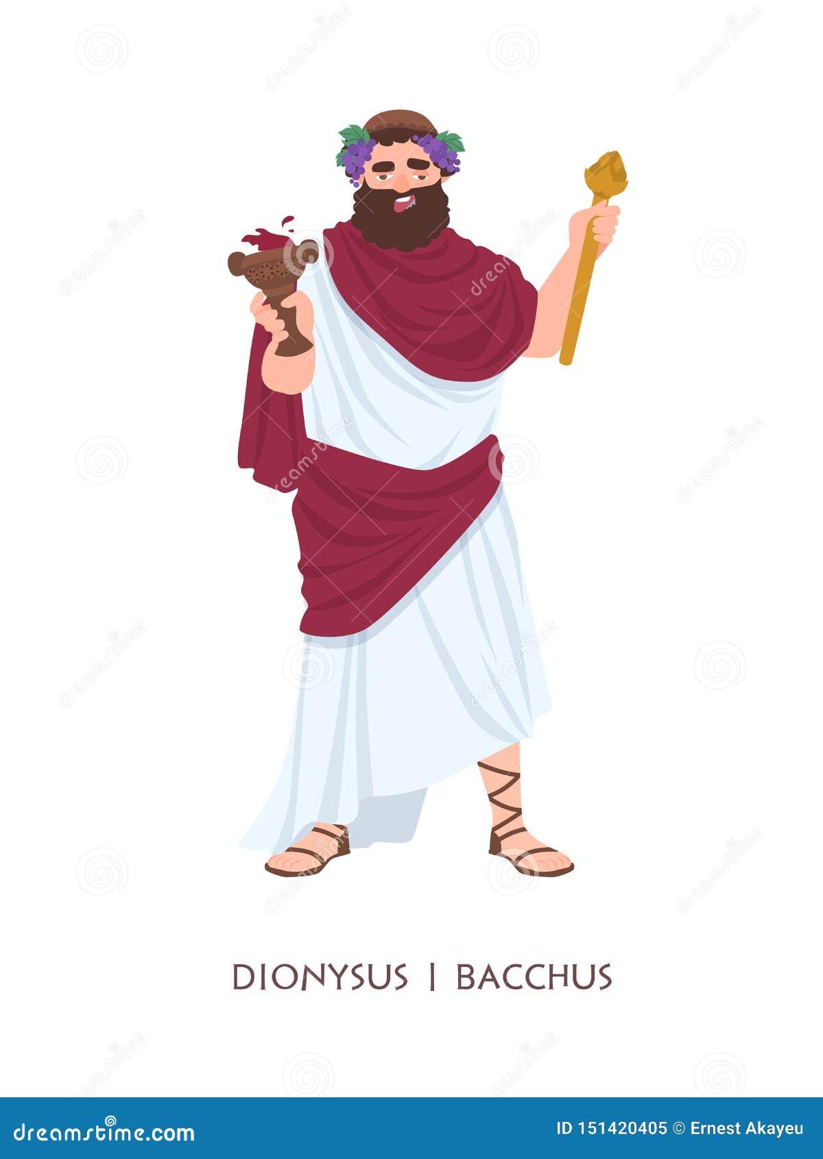 Dionysus of Bacchus - god of deity van wijn, wijnbereiding en vruchtbaarheid in oude Griekse en Roman godsdienst of mythologie