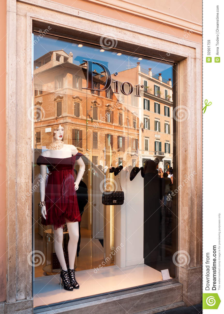 dior fashion store in rome italy editorial stock image image 32901759. Black Bedroom Furniture Sets. Home Design Ideas