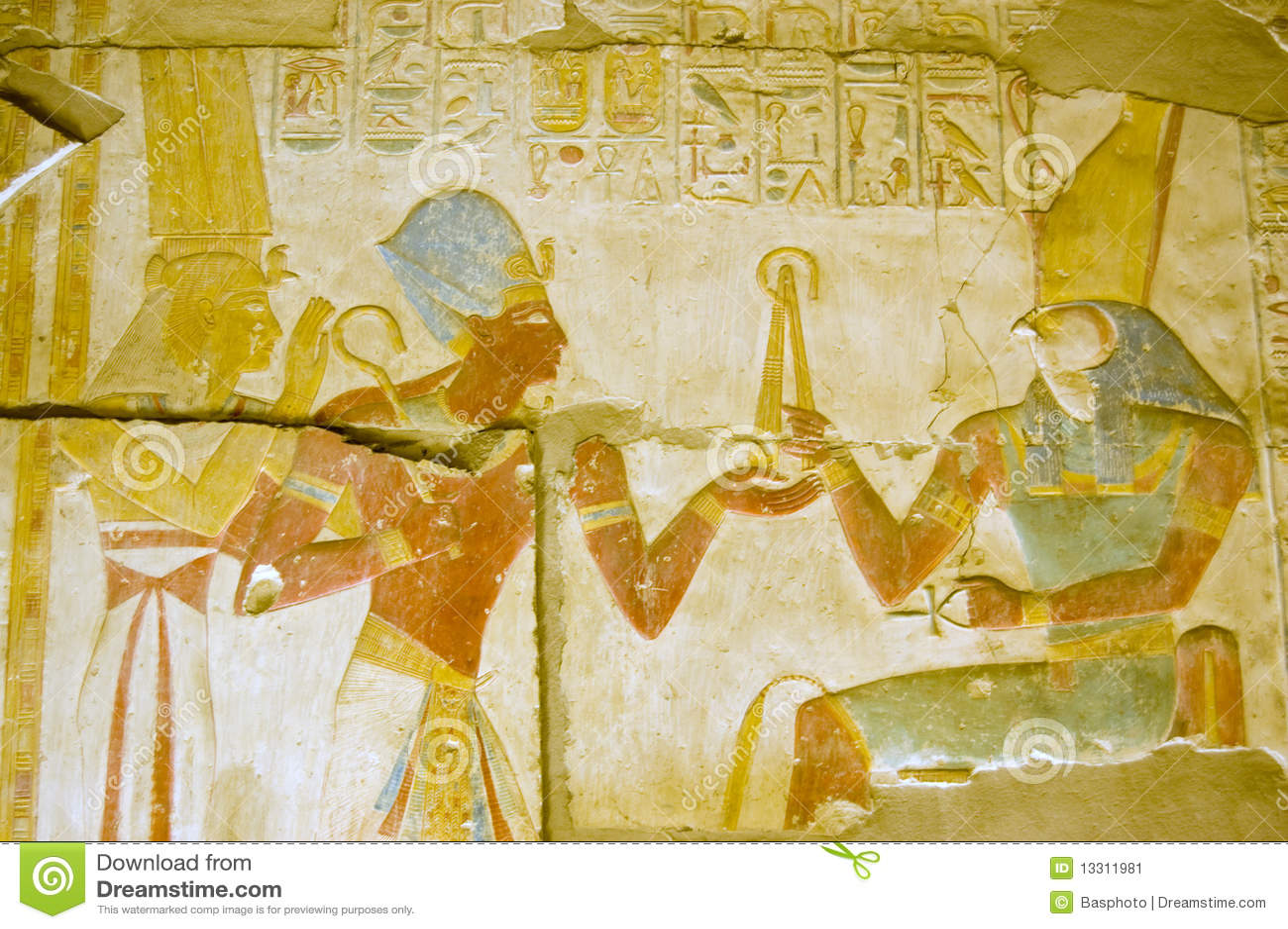 Dios egipcio antiguo Horus con Seti e ISIS