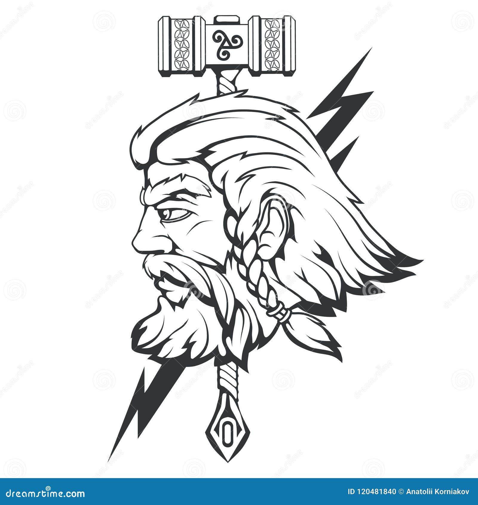 Dios Escandinavo Del Trueno Y De La Tormenta Dibujo De La Mano De La