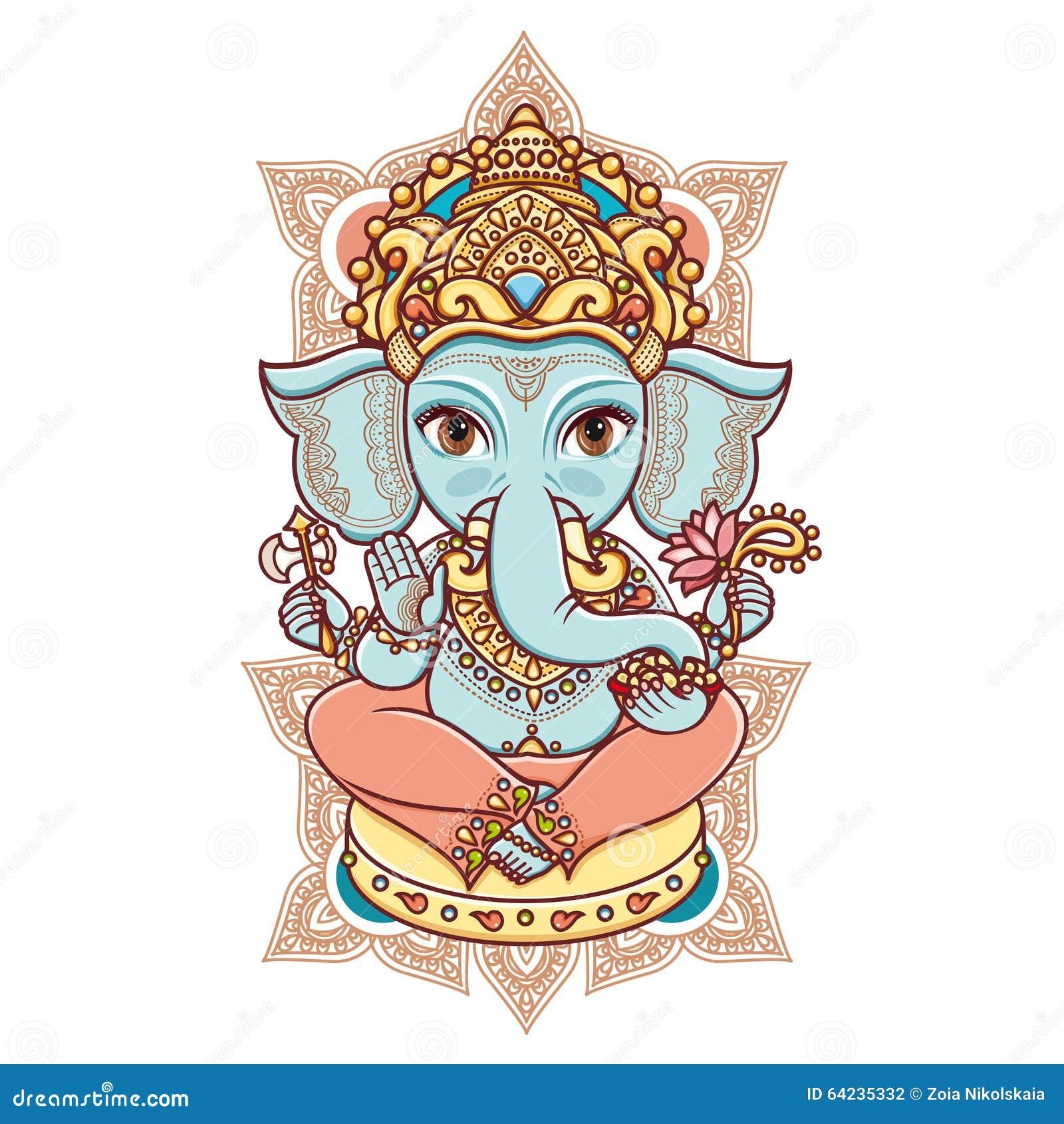 2c13d81acaac3 Dios Hindú Lord Ganesh De La Cabeza Del Elefante Ilustración del ...