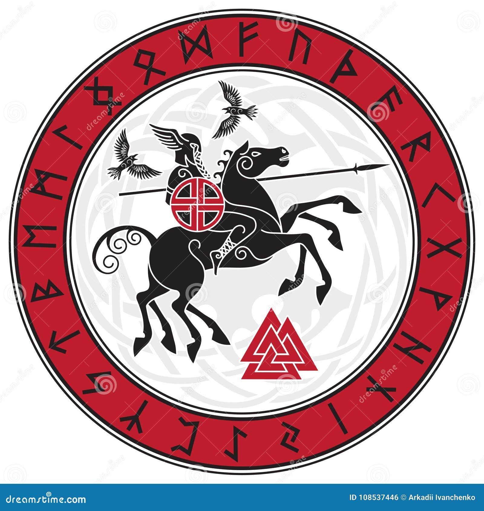 Dios Wotan, montando en un caballo Sleipnir con una lanza y dos cuervos en un círculo de runas nórdicas Ejemplo de los nórdises