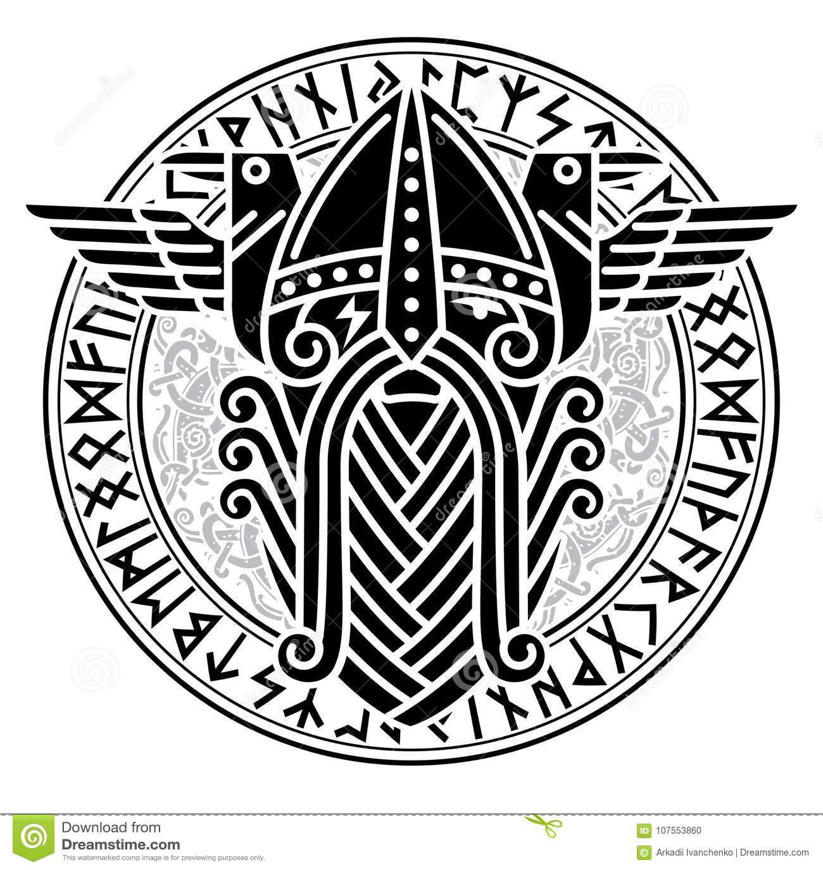 Dios Wotan y dos cuervos en un círculo de runas nórdicas Ejemplo de la mitología nórdica