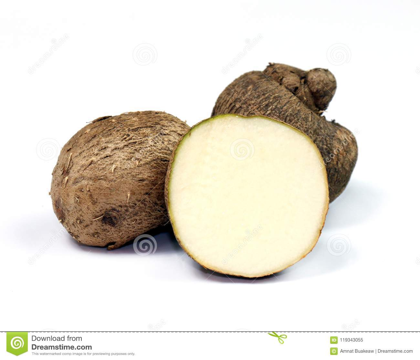 Dioscorea, Mun-Neb Thai word, Fresh Dioscorea tuck, Dioscorea slats root isolated on white background, Rubeola fotografie