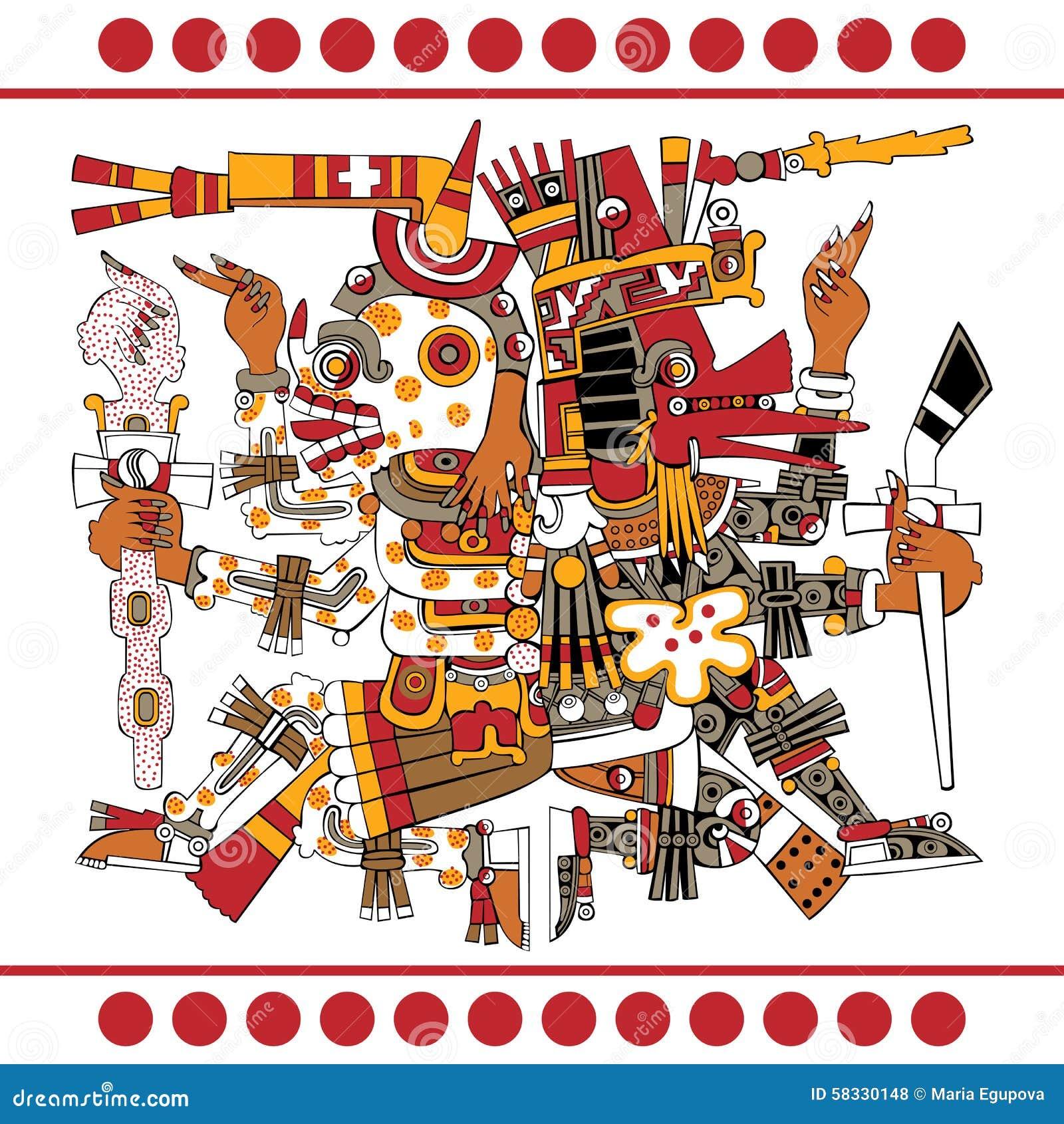 Dioses Aztecas Antiguos Ilustración Del Vector Ilustración De Mayan