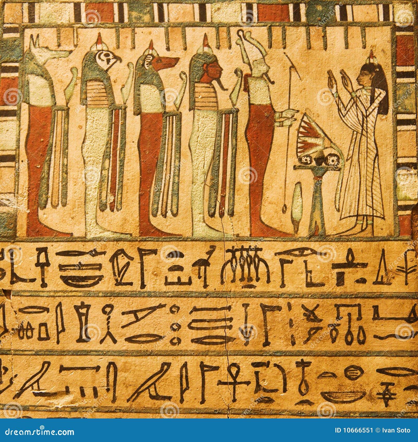 Dioses egipcios antiguos e hieroglyphics