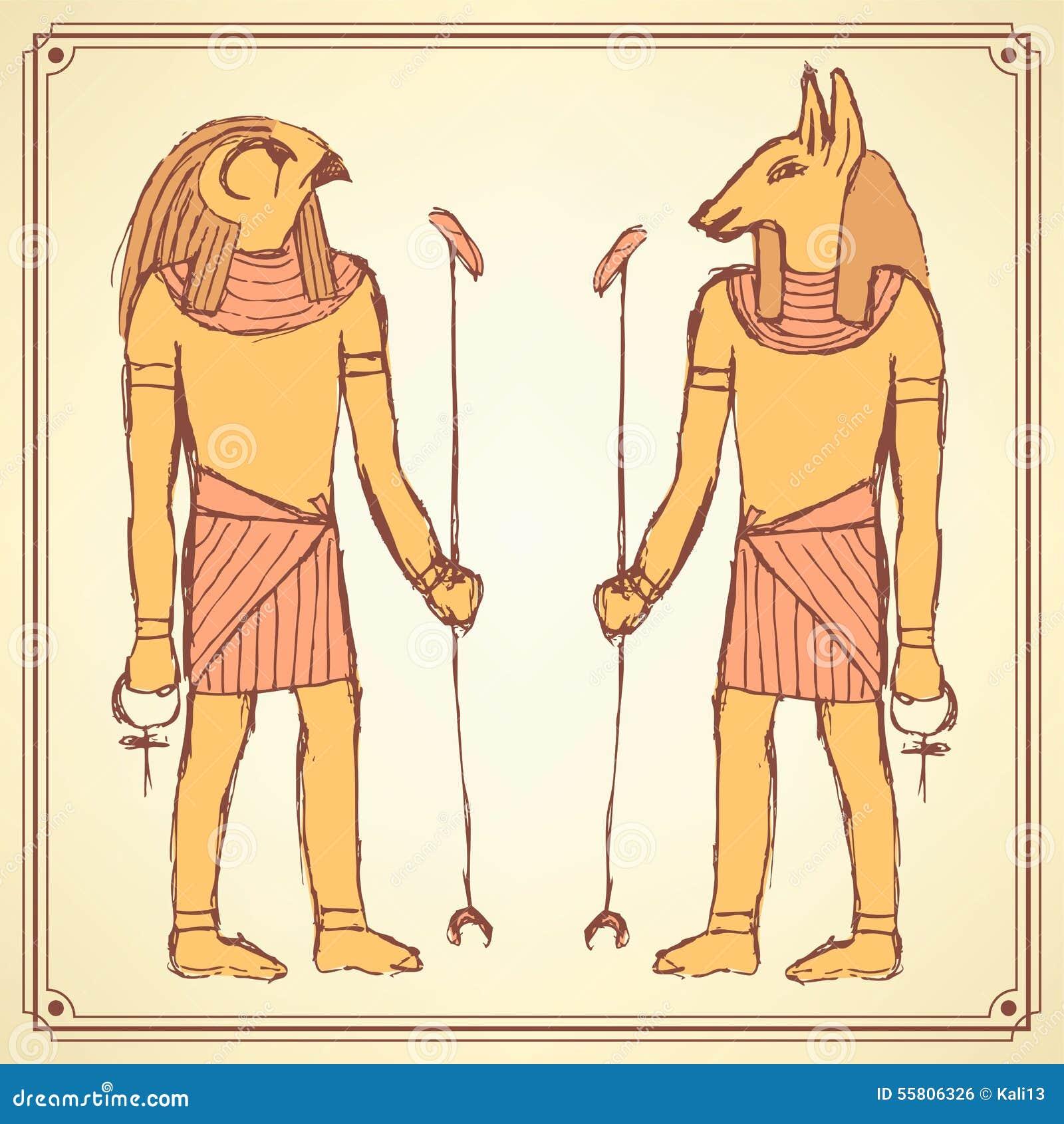 Dioses egipcios del bosquejo en estilo del vintage