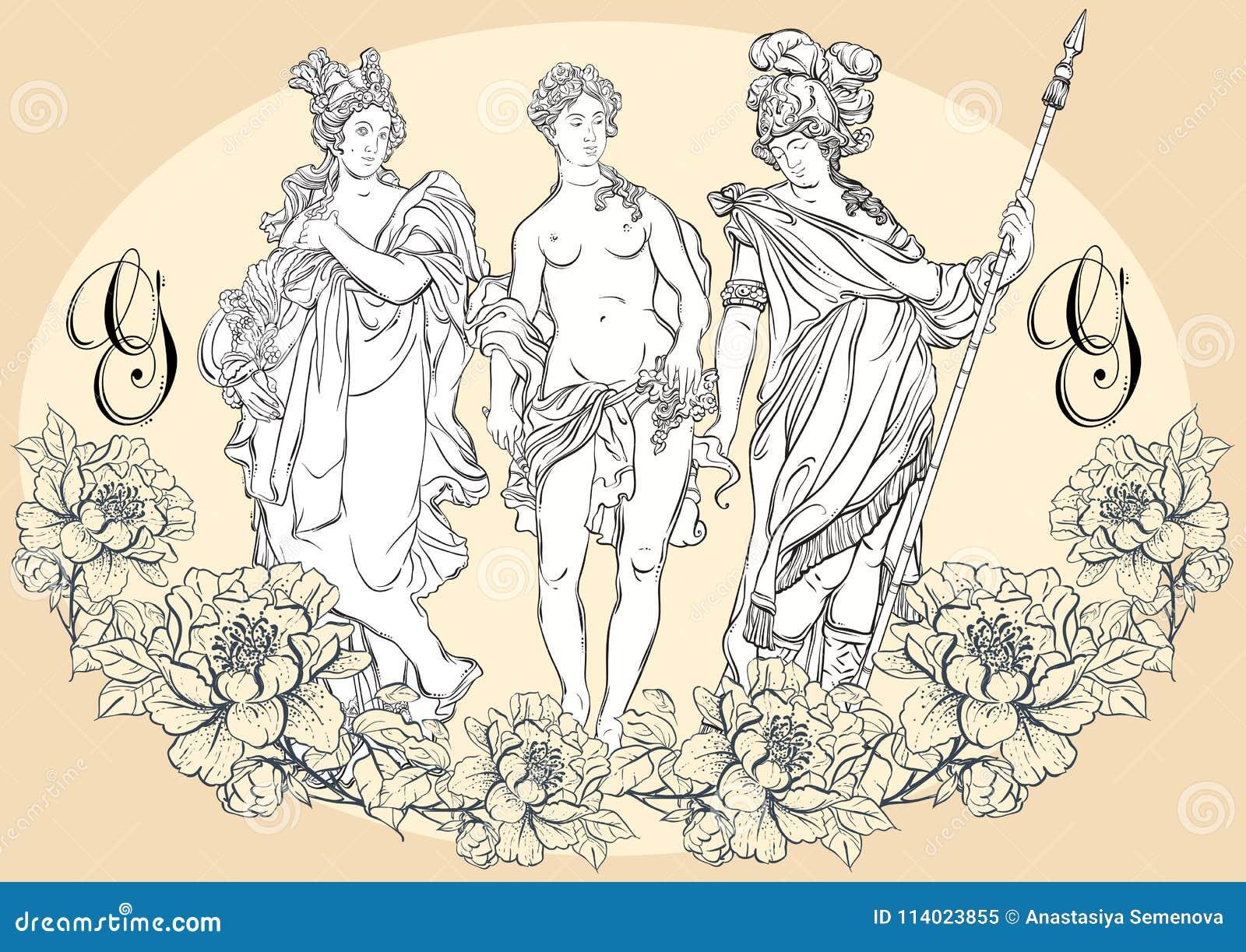 Dioses griegos, los héroes mitológicos de Grecia antigua Ilustraciones hermosas a mano del vector aisladas classicism