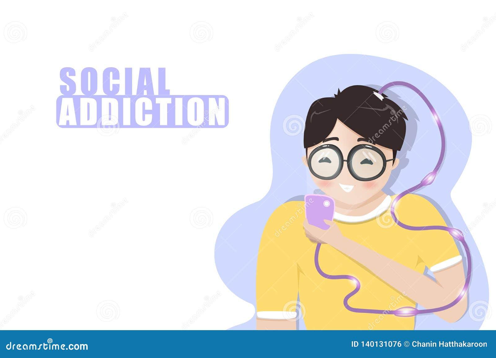 Dipendenza sociale, ragazzo che gioca telefono cellulare, stile di vita che si rilassa, studente adolescente, personaggi dei cart
