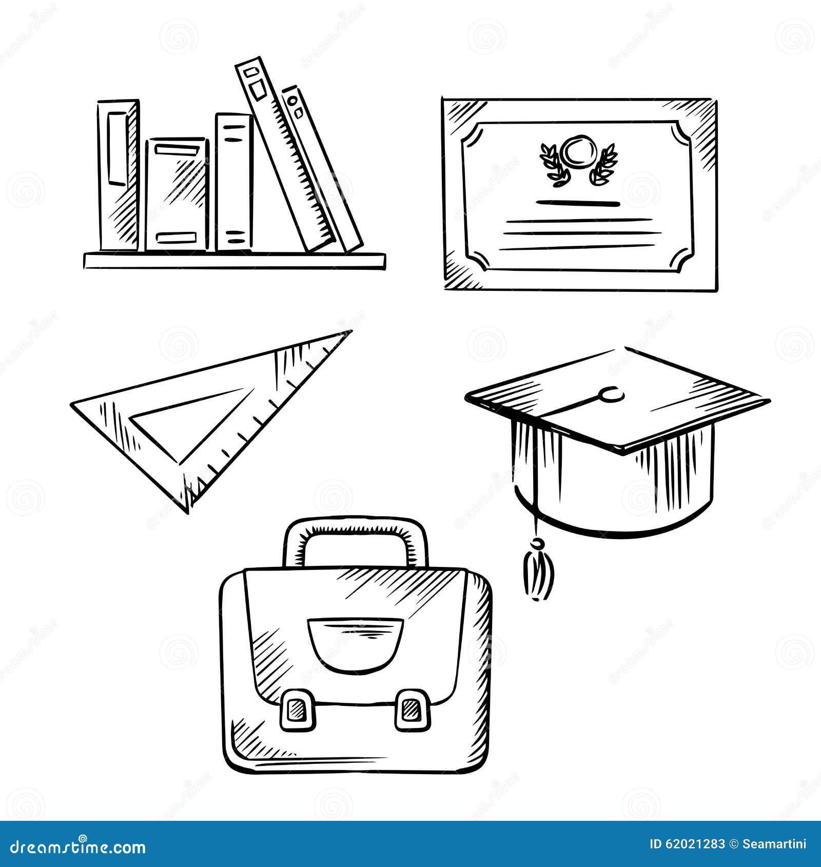 Diplôme, Chapeau, Sac D'école, Règle Et Livres Illustration
