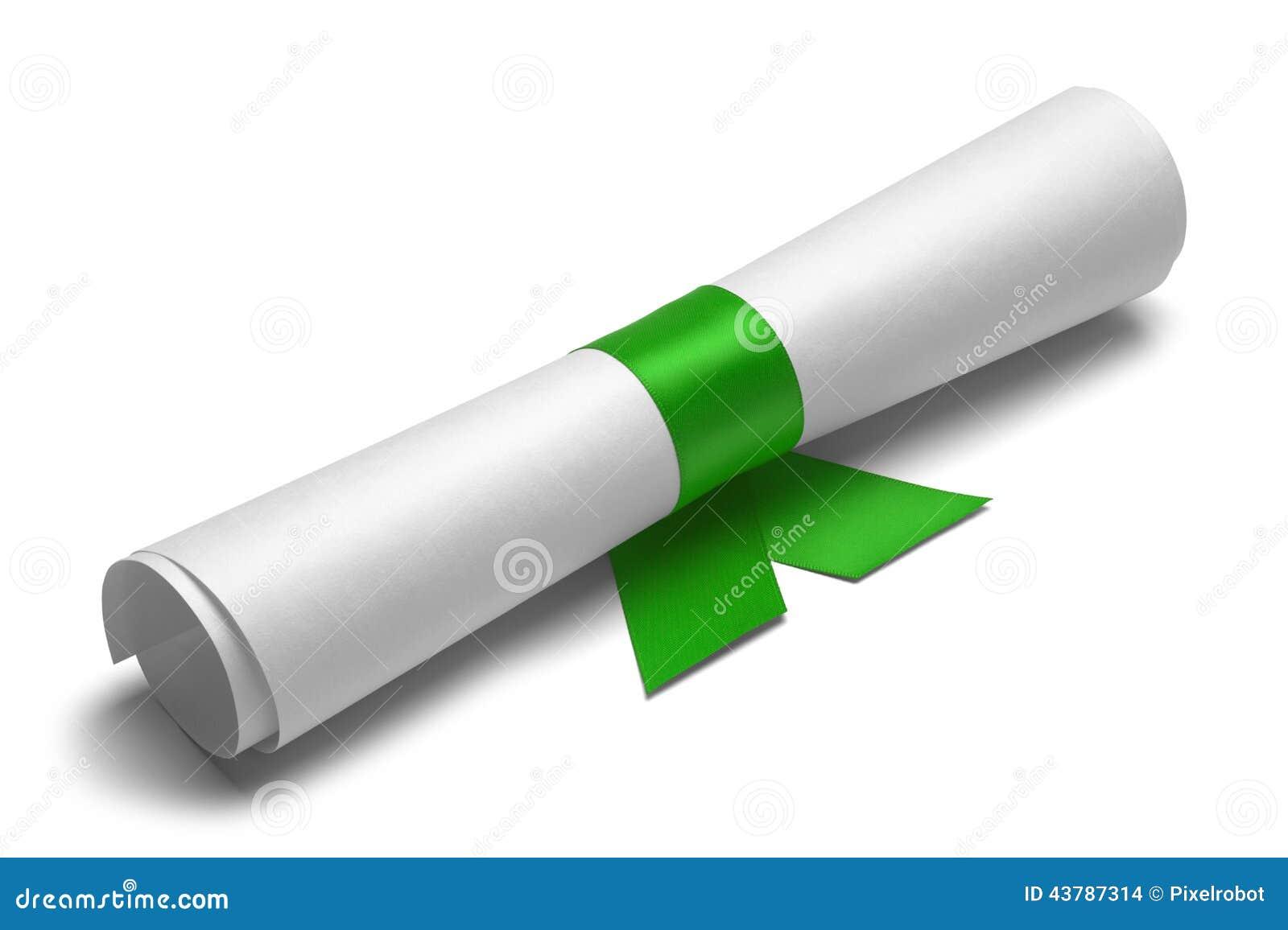 Dipl me et ruban vert photo stock image du concepts for Diplome espace vert