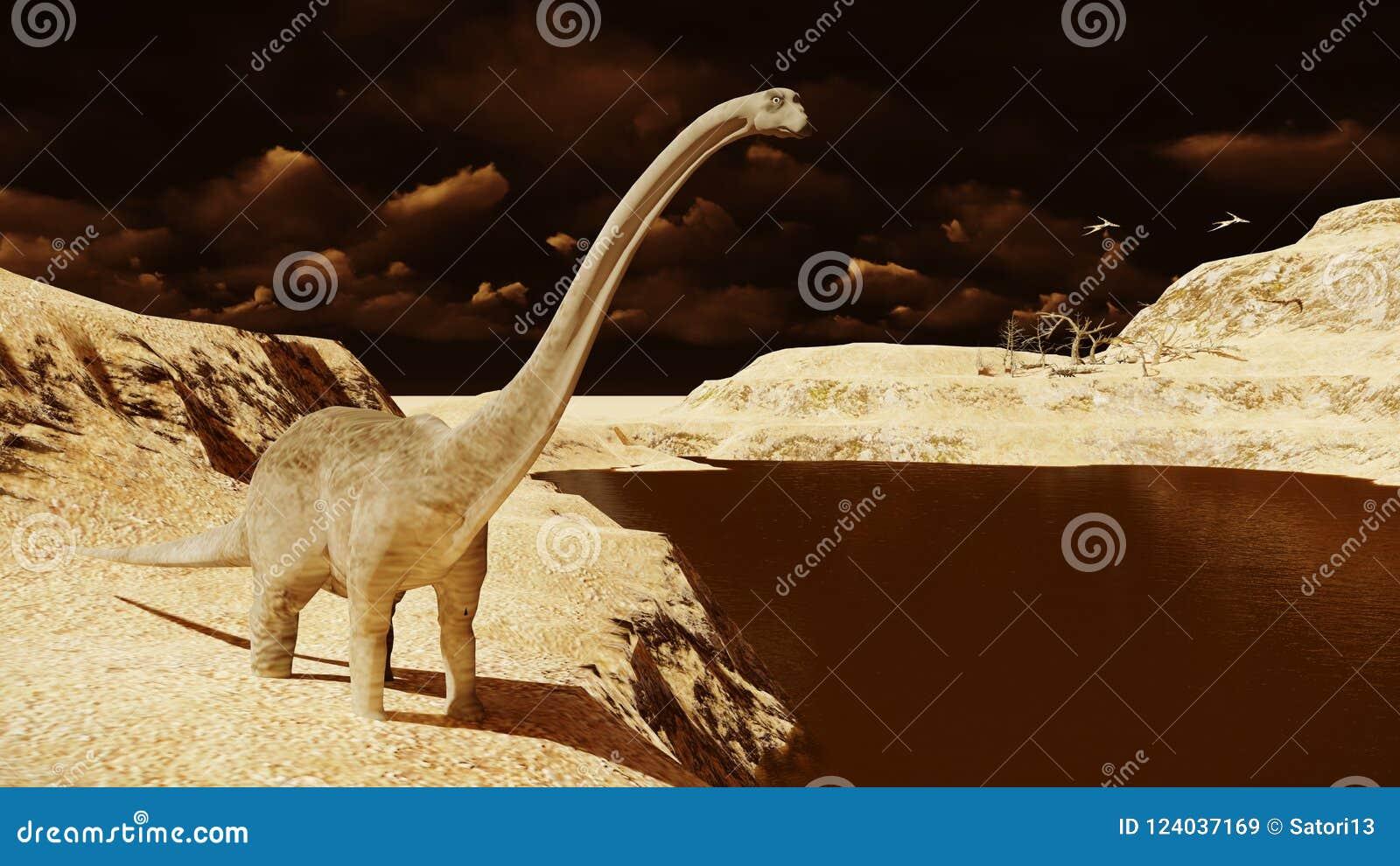 Diplodocus énorme sur la terre stérile