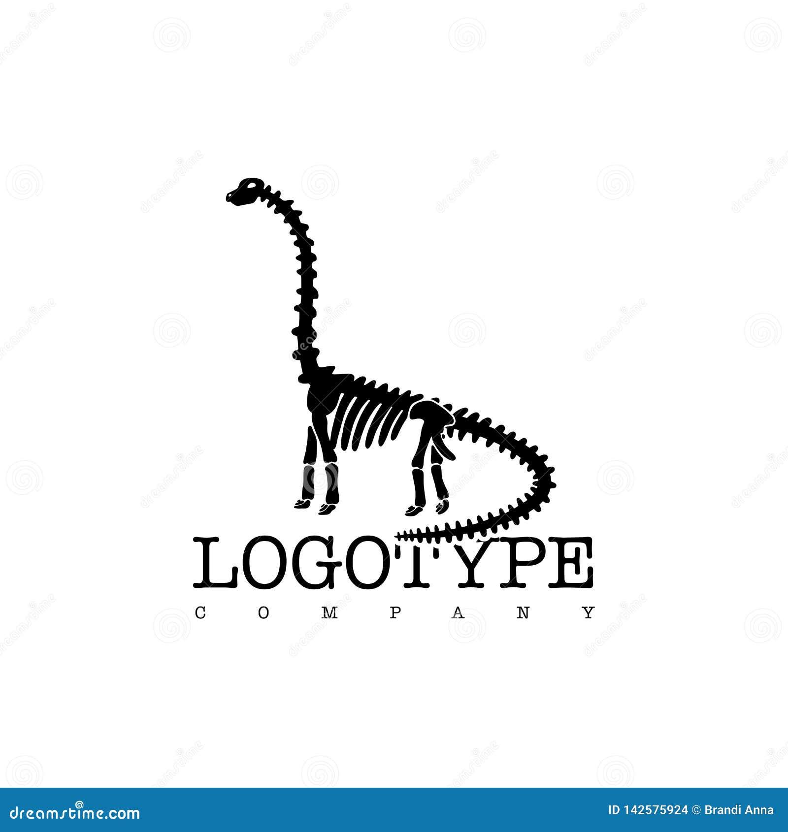 Diplodocus di scheletro del dinosauro del logotype di vettore isolato su fondo bianco