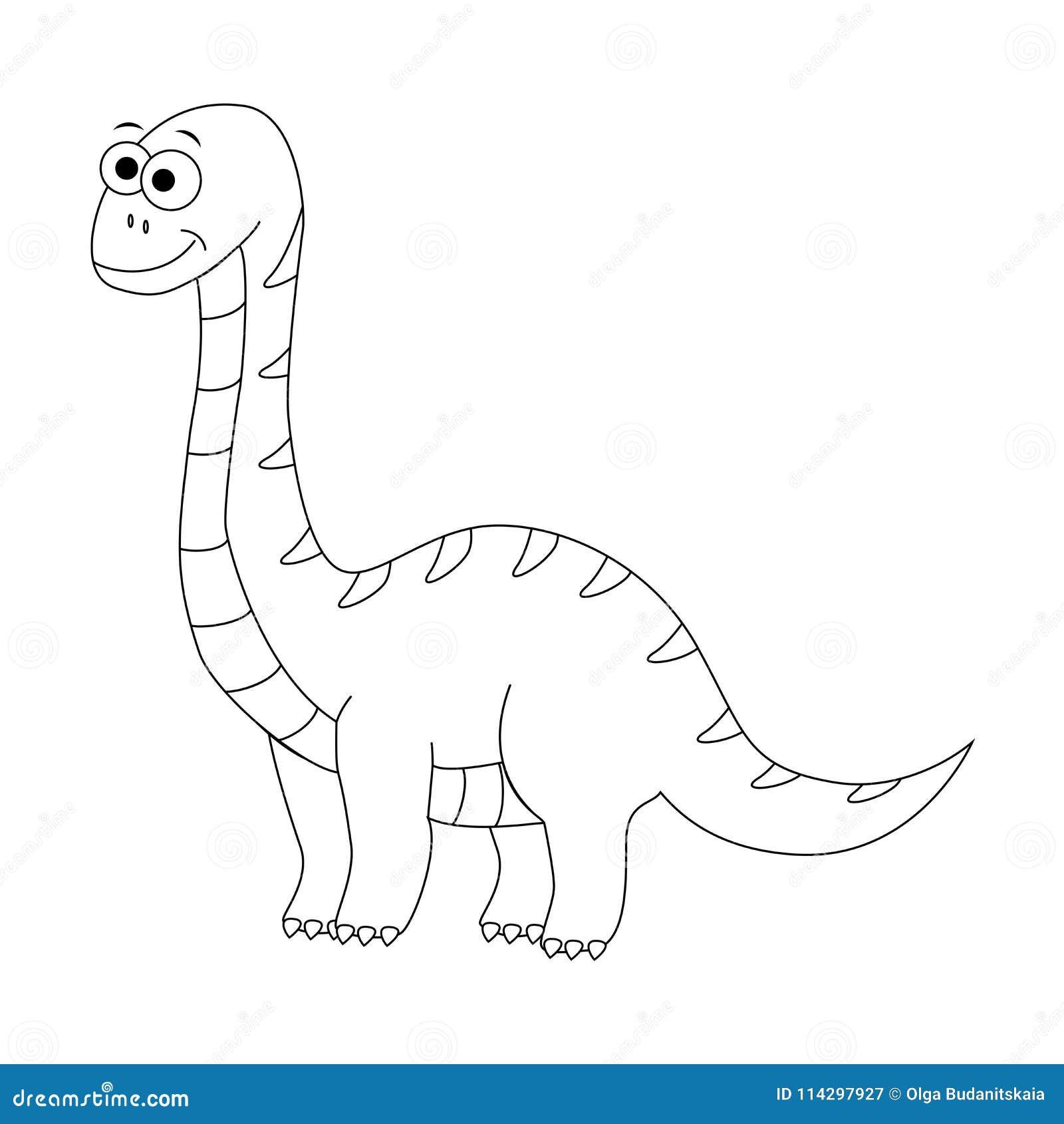 Diplodocus engraçado incolor dos desenhos animados Ilustração do vetor Colori