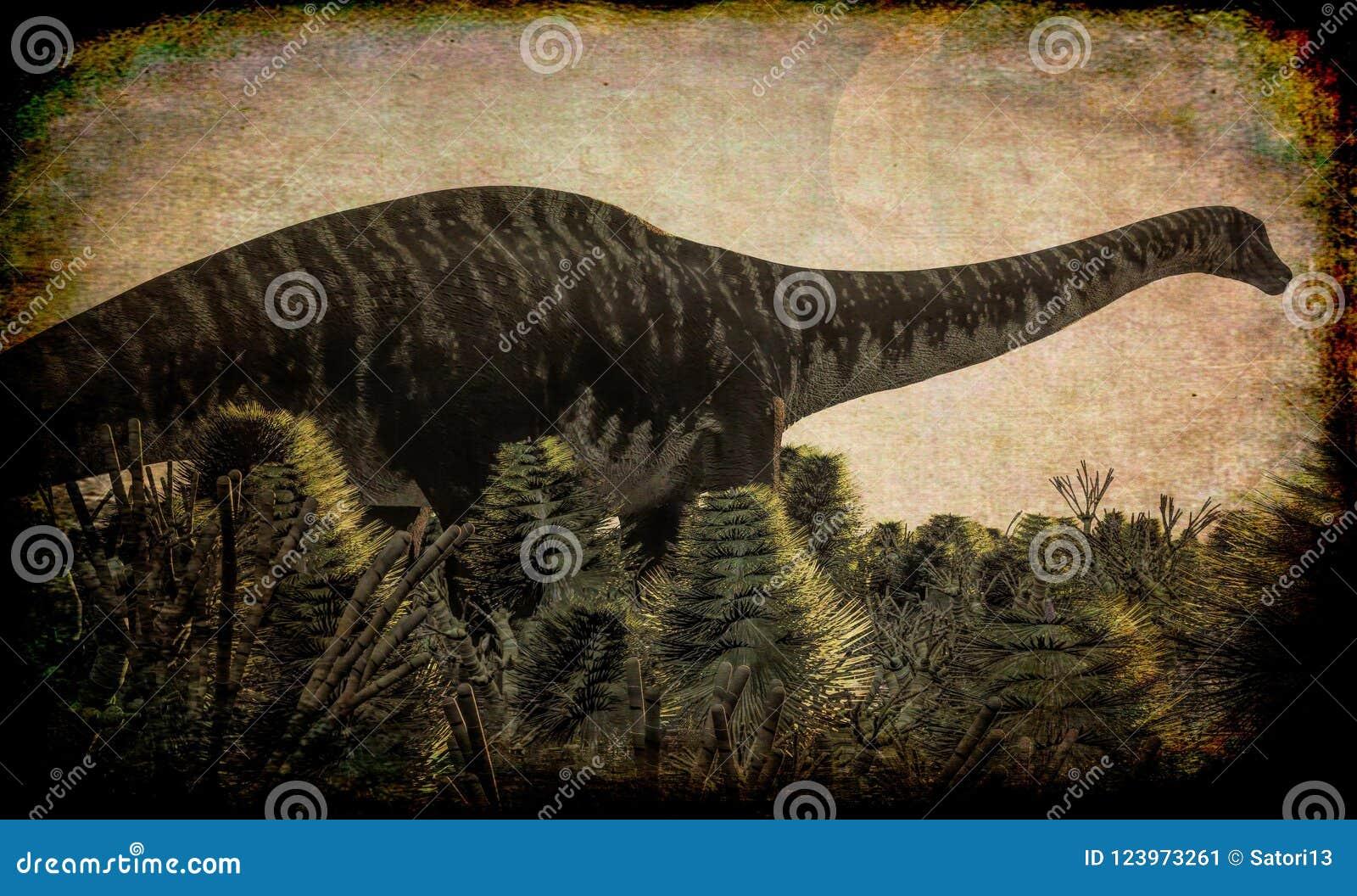 Diplodocus enorme en el humedal, ejemplo 3d