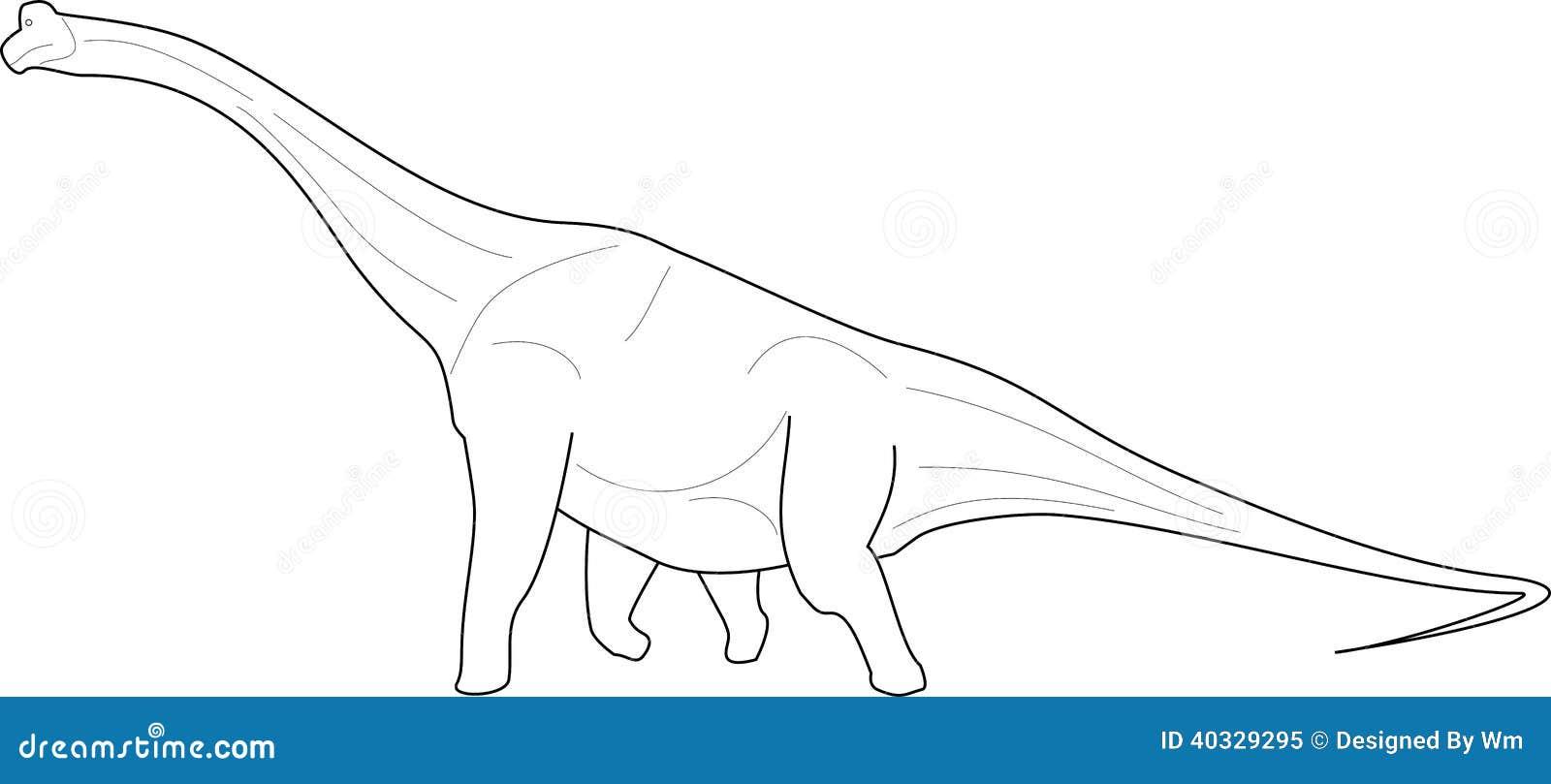 Line Art Dinosaur : Diplodocus line art stock vector illustration of drawn