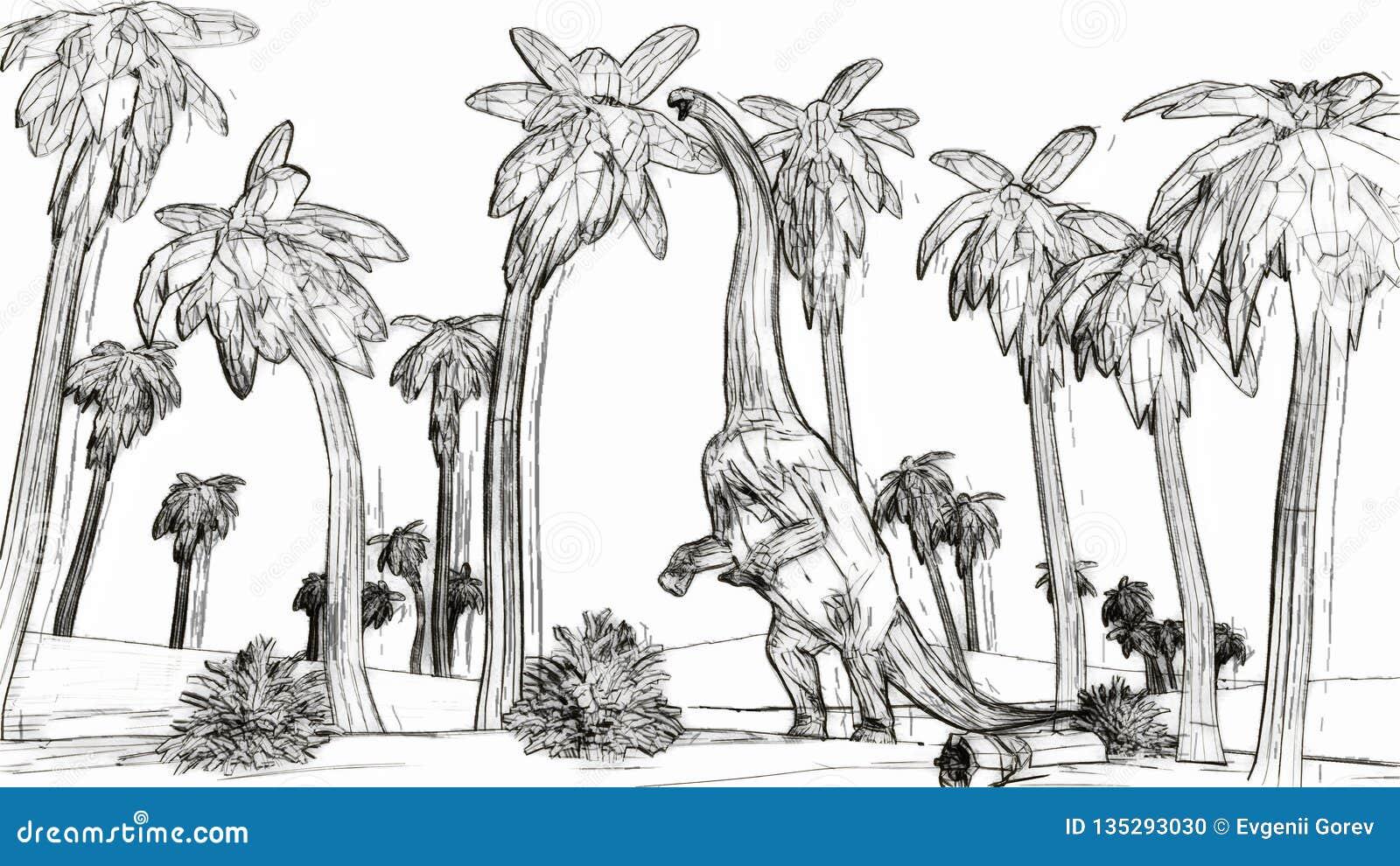 Diplodocus que come el ejemplo del estilo 3d del bosquejo de las hojas de palma