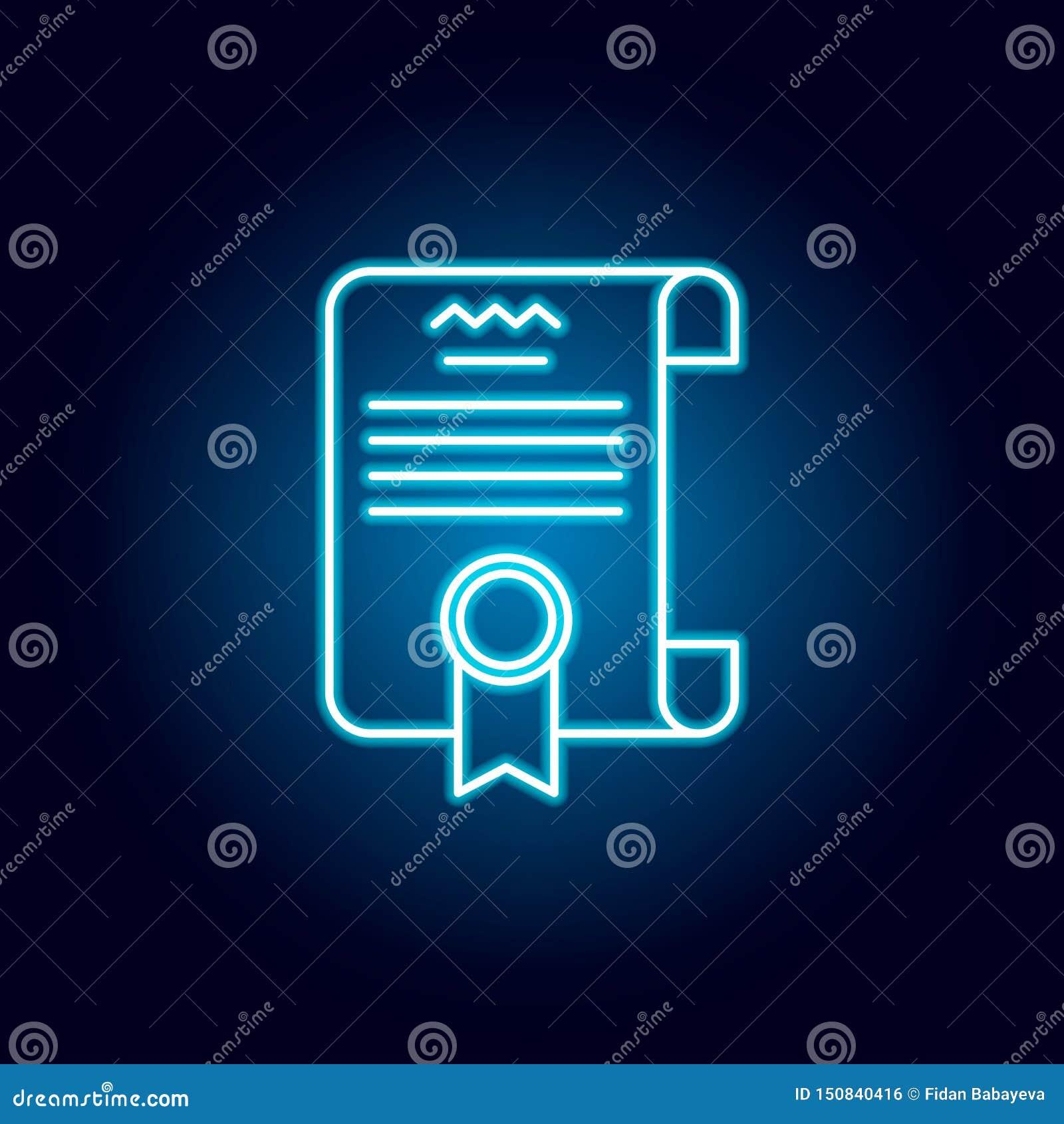 Diploma, ícone do esboço do certificado no estilo de néon elementos da linha ícone da ilustração da educação os sinais, símbolos