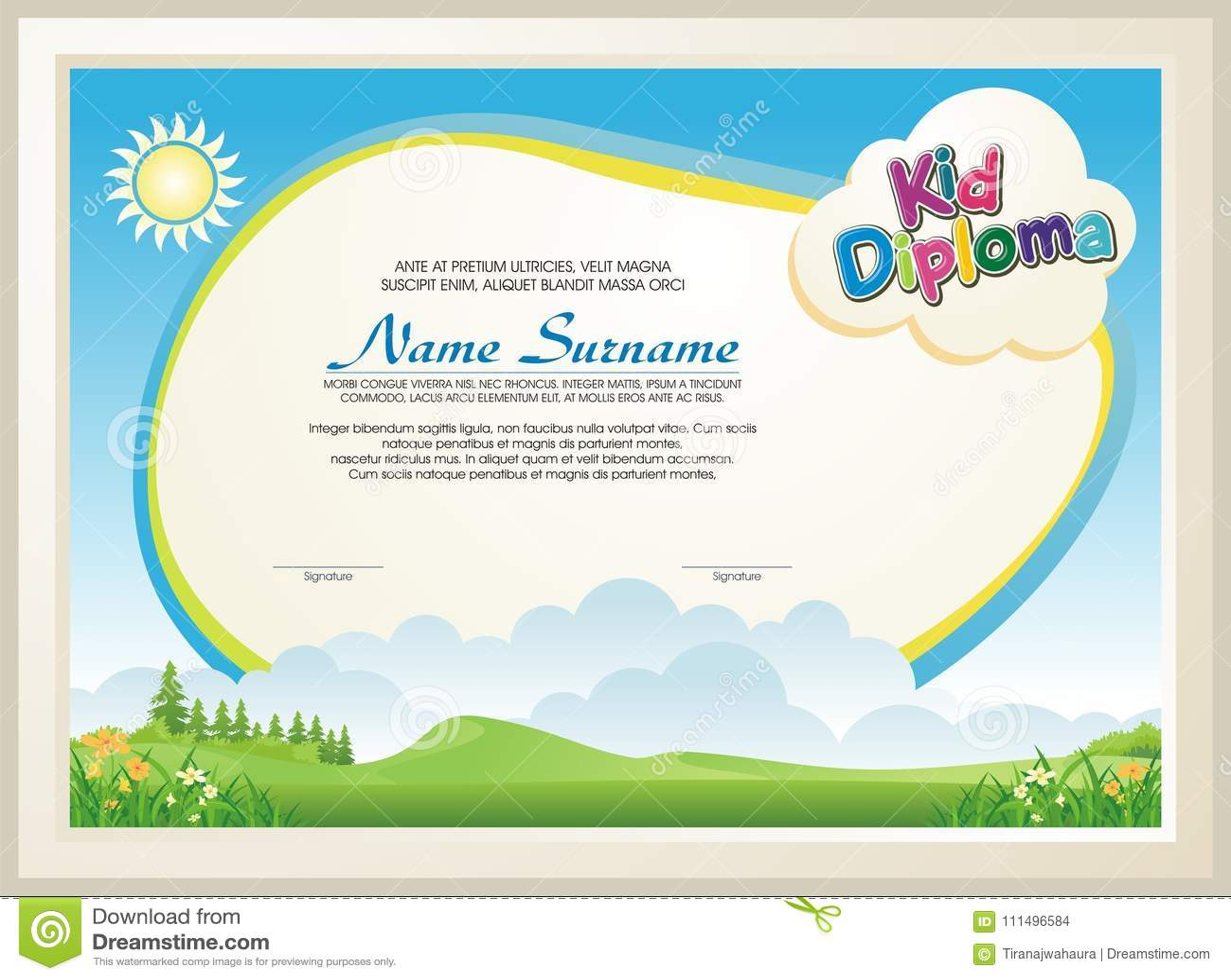 Diploma adorável da criança com paisagem da natureza
