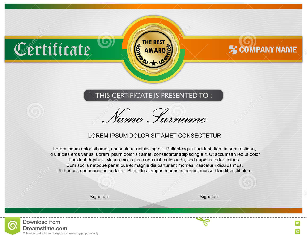 Diploma award certificate template green orange stock diploma award certificate template green orange yadclub Choice Image