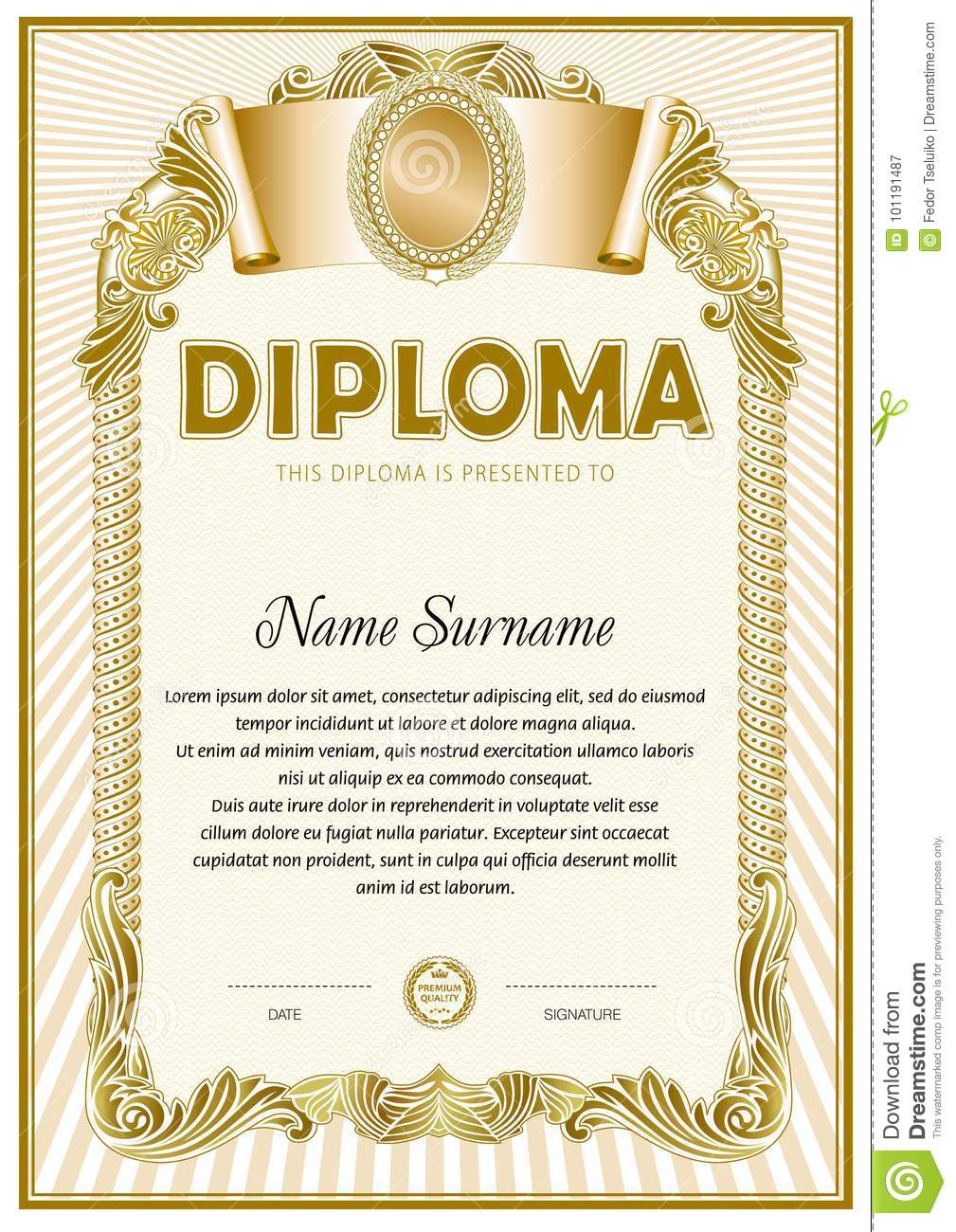 diploma blank template stock vector illustration of certificate