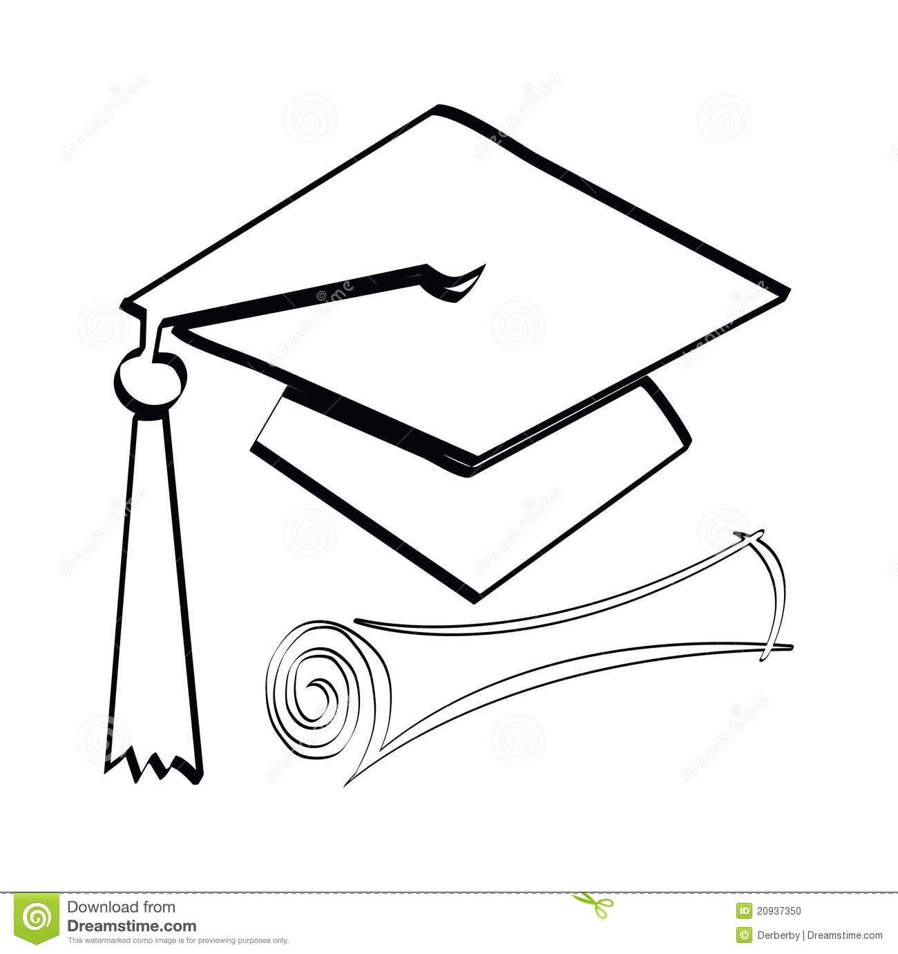 Graduation diploma and cap on a white background.