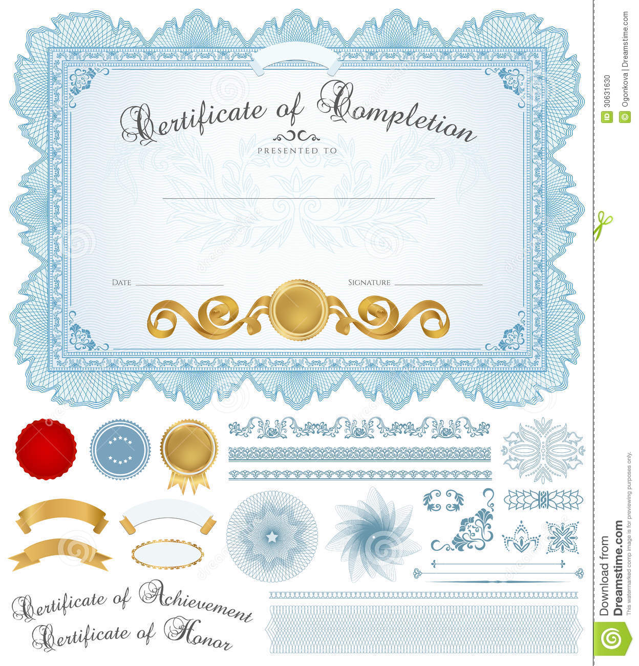 Horizontal blue certificate of completion (template) with guilloche ...