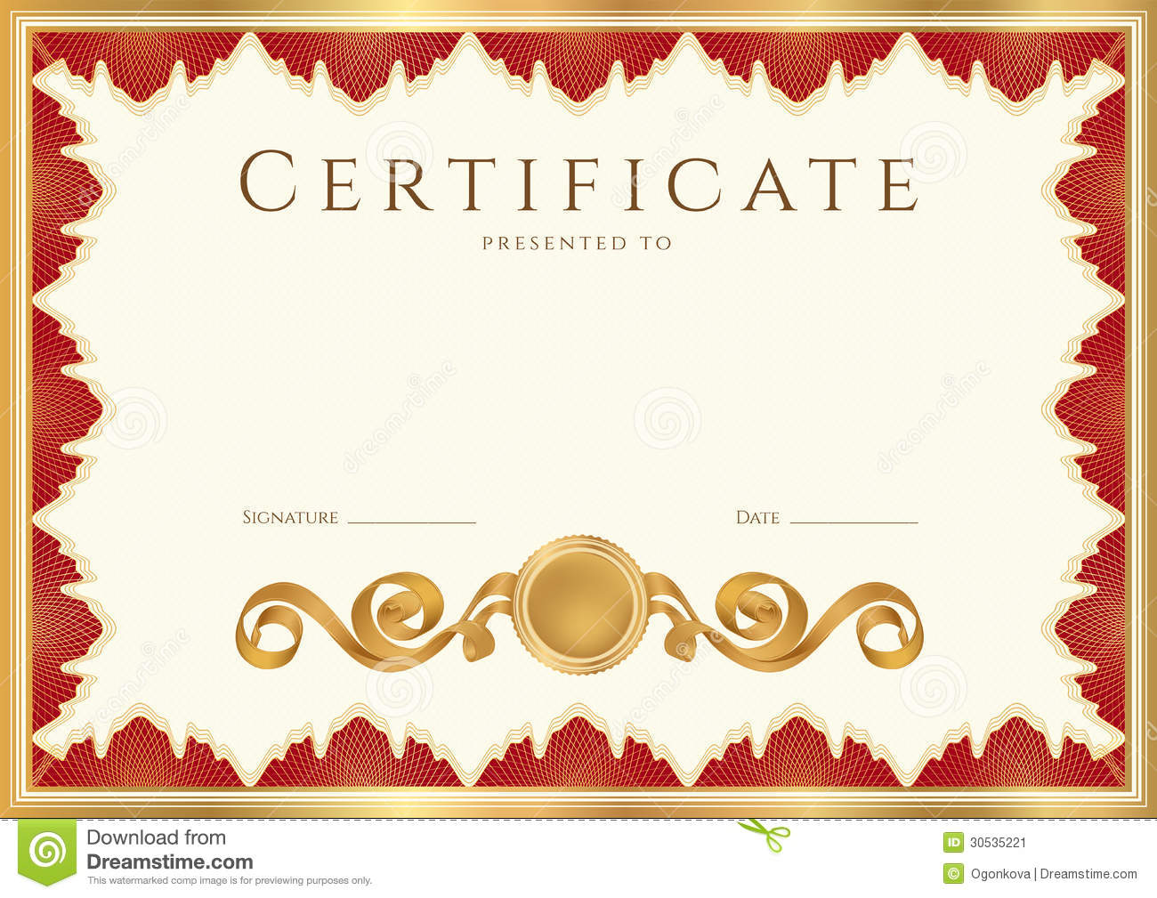 Horizontal certificate of completion (template) with guilloche pattern ...