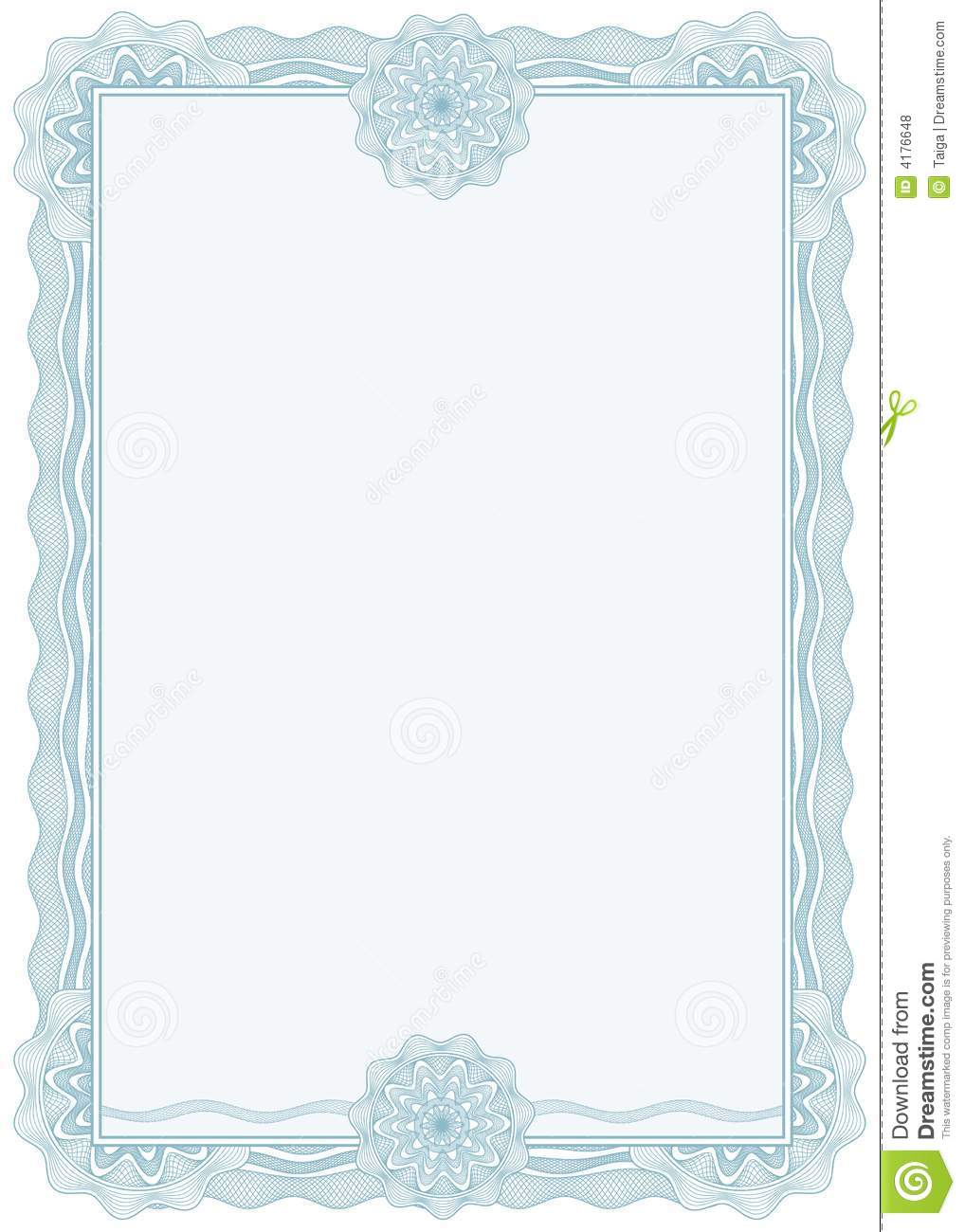 Diploma or certificate border a4 vector royalty free stock
