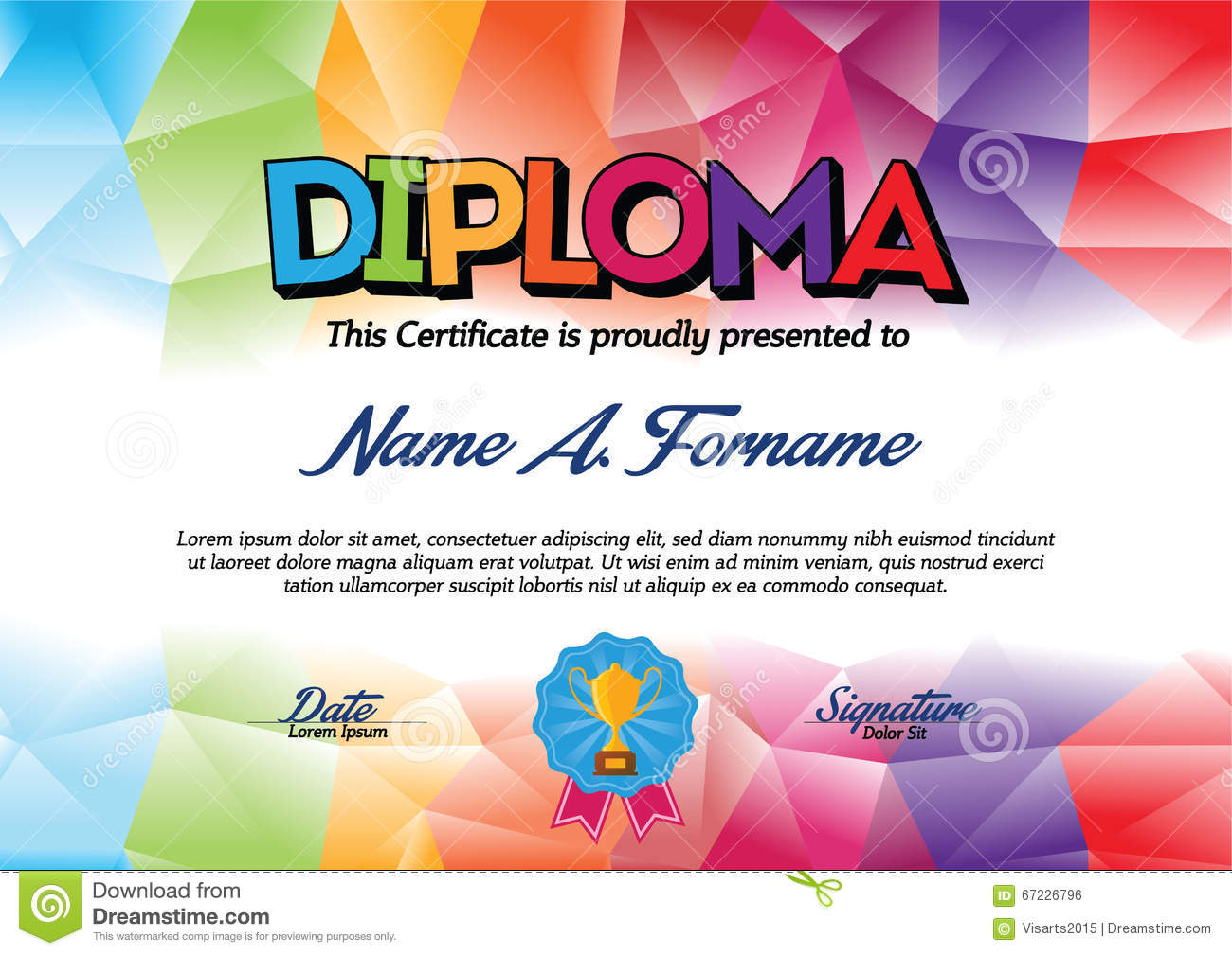 Diploma Certificate Template With Colorful Frame For Children Stock
