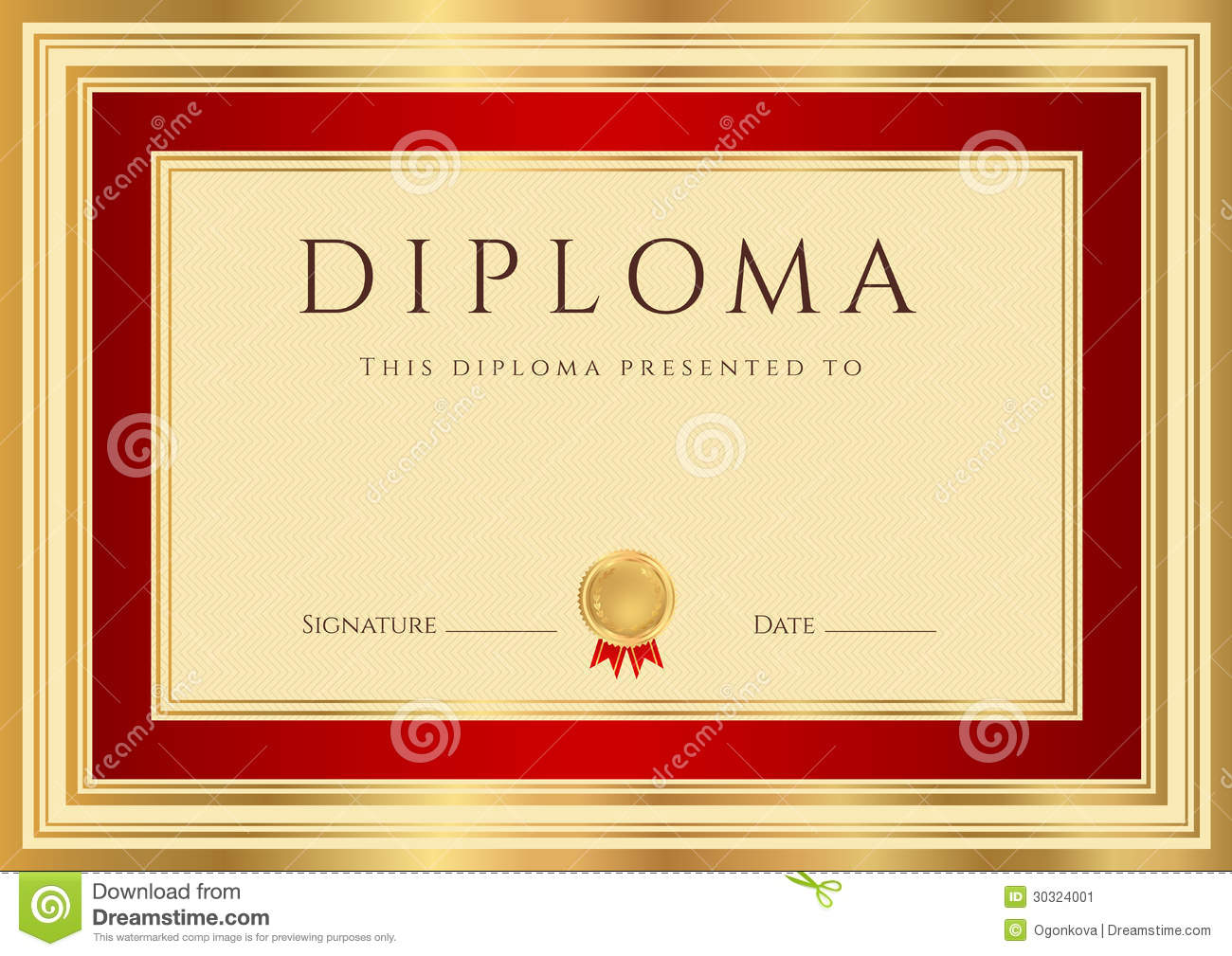 Diploma certificate template with red border stock vector royalty free stock photo download diploma certificate template yelopaper Choice Image