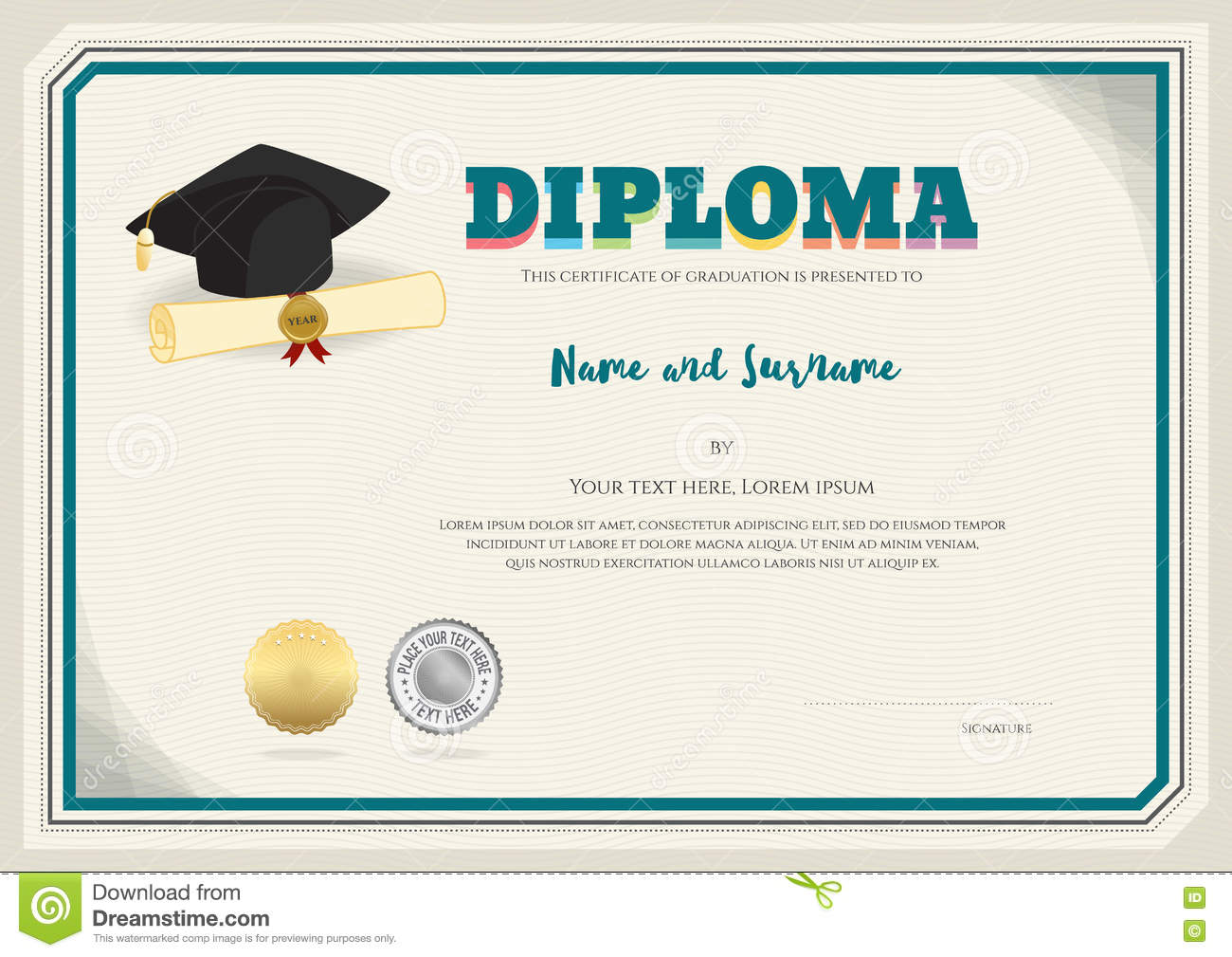diploma certificate template in vector with graduation cap stock vector image 73724866. Black Bedroom Furniture Sets. Home Design Ideas