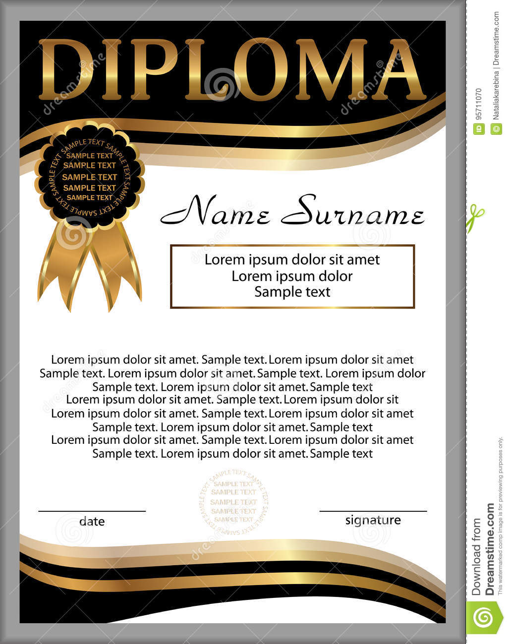 diploma or certificate template vertical background winning th