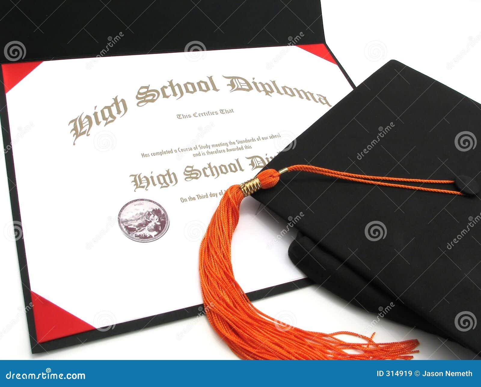 Diploma de High School com tampão e Tassel