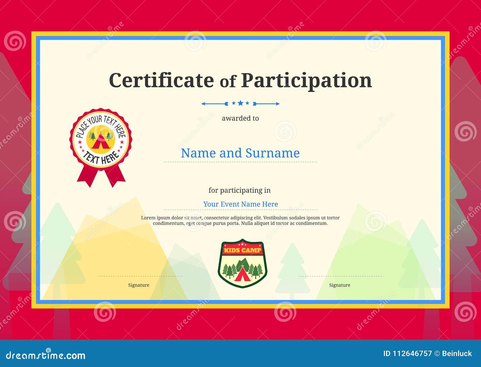 Diploma De Los Niños O Certificado De Plantilla De La Participación ...