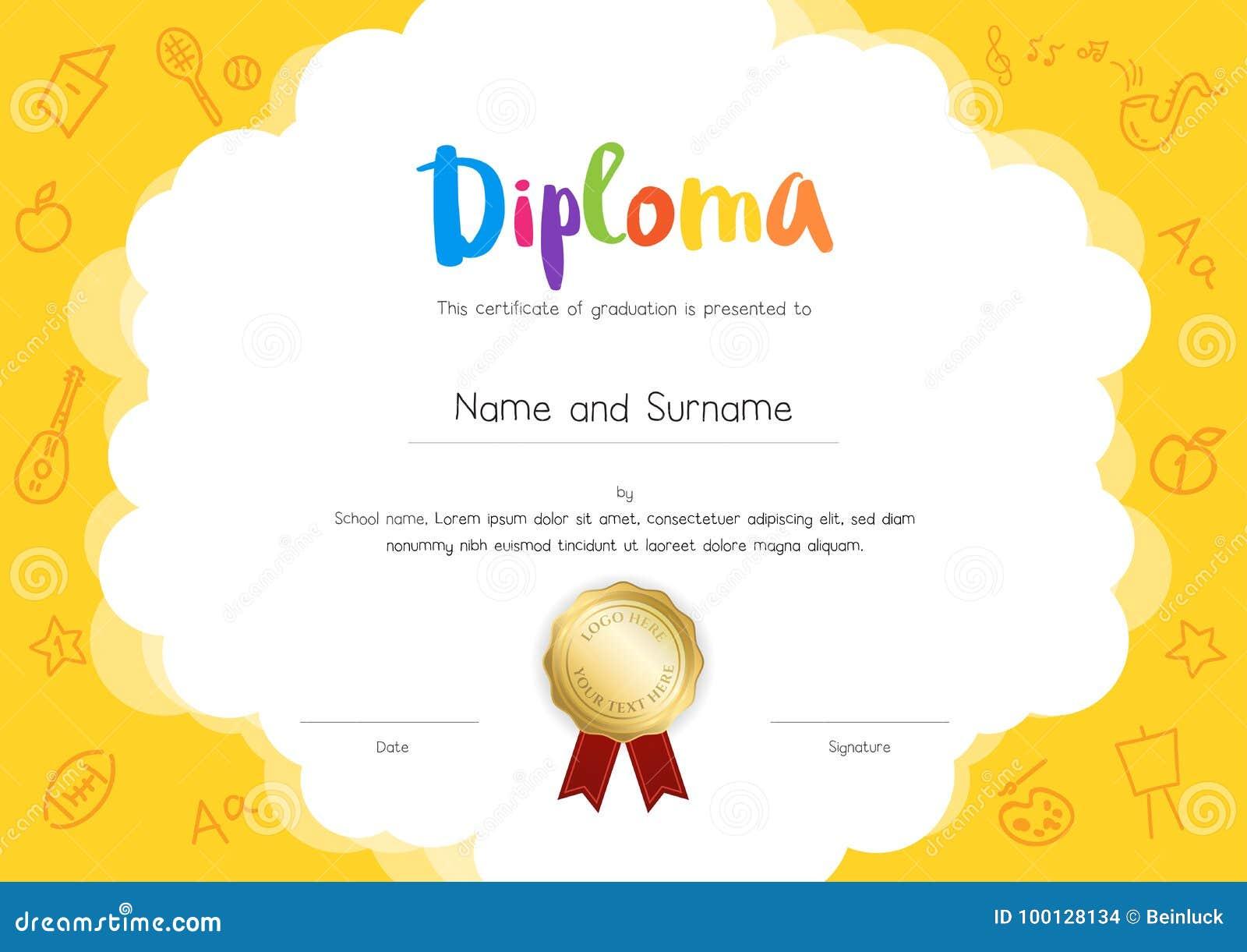 Diploma dei bambini o modello del certificato con il fumetto s del disegno della mano