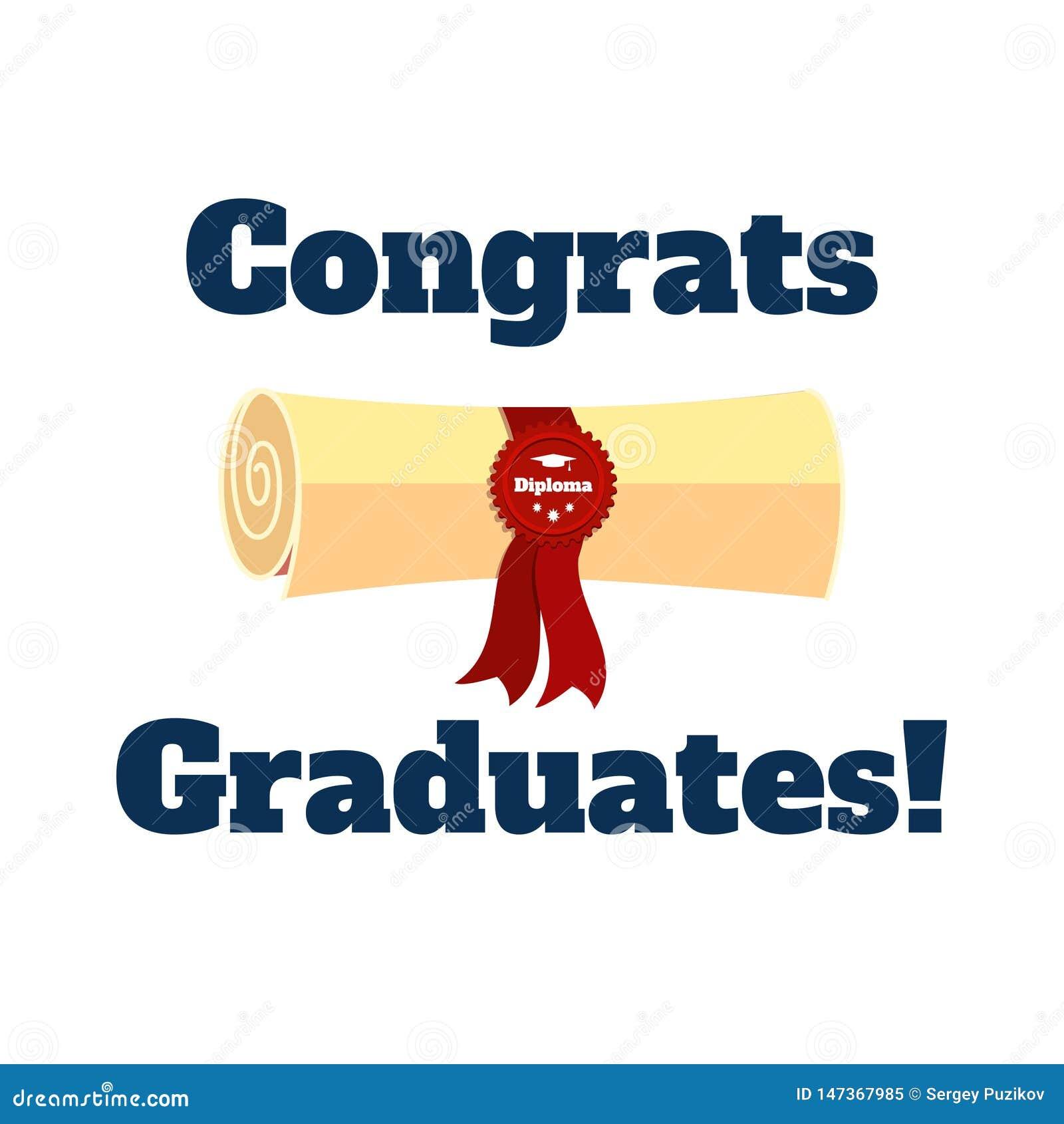 Diploma en inschrijvings de gediplomeerden Vector vlakke illustratie van Congrats