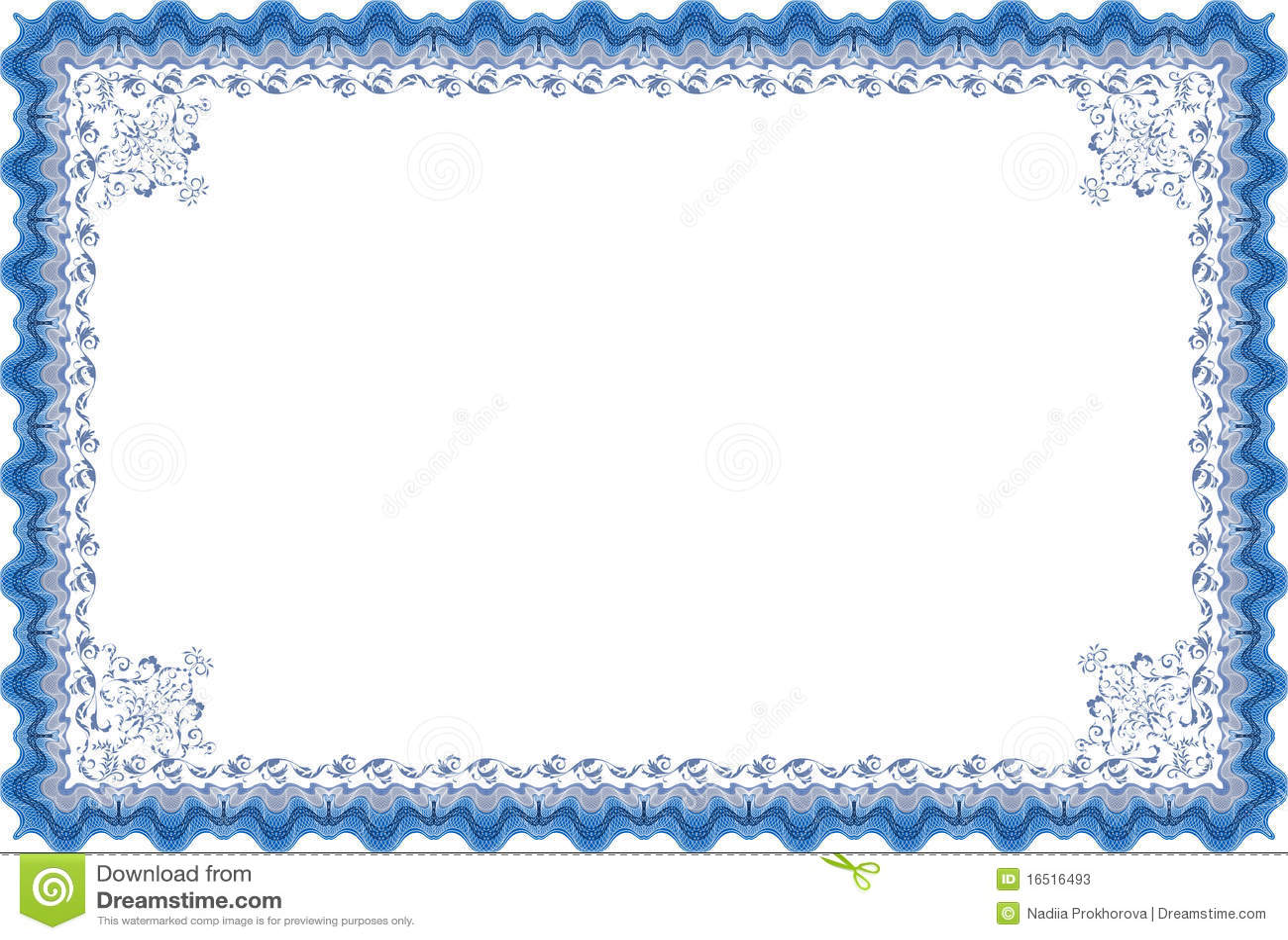 Diploma O Certificado De La Frontera. Stock de ilustración ...