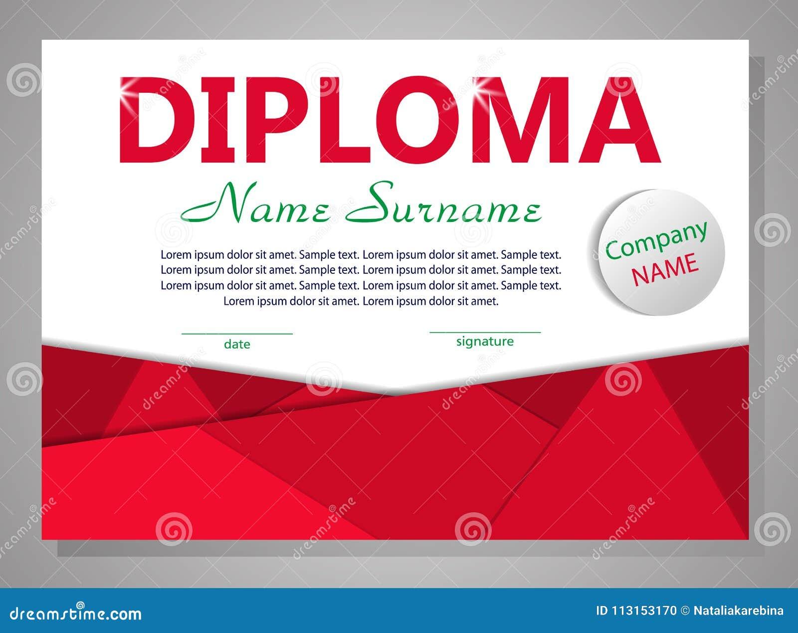 Diploma o certificato rosso del modello Priorità bassa elegante Vettore