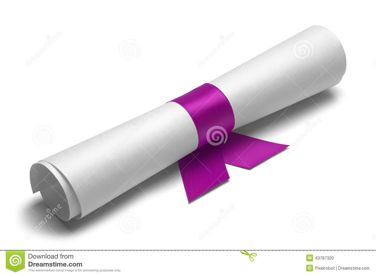 Diploma tied with pink ribbon on a white isolated background.