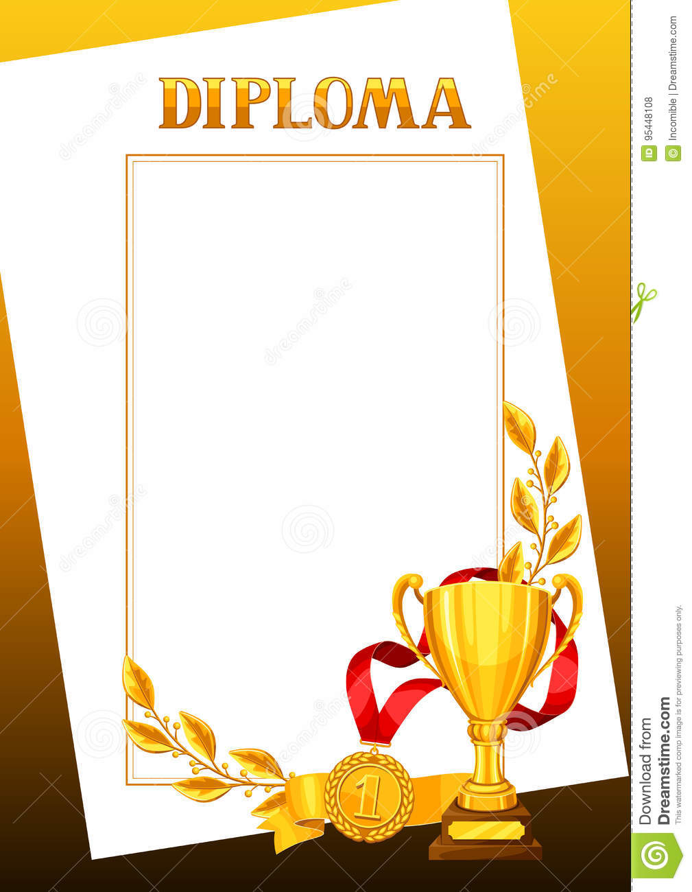 Diploma With Realistic Gold Awards Certificate For Sports Or
