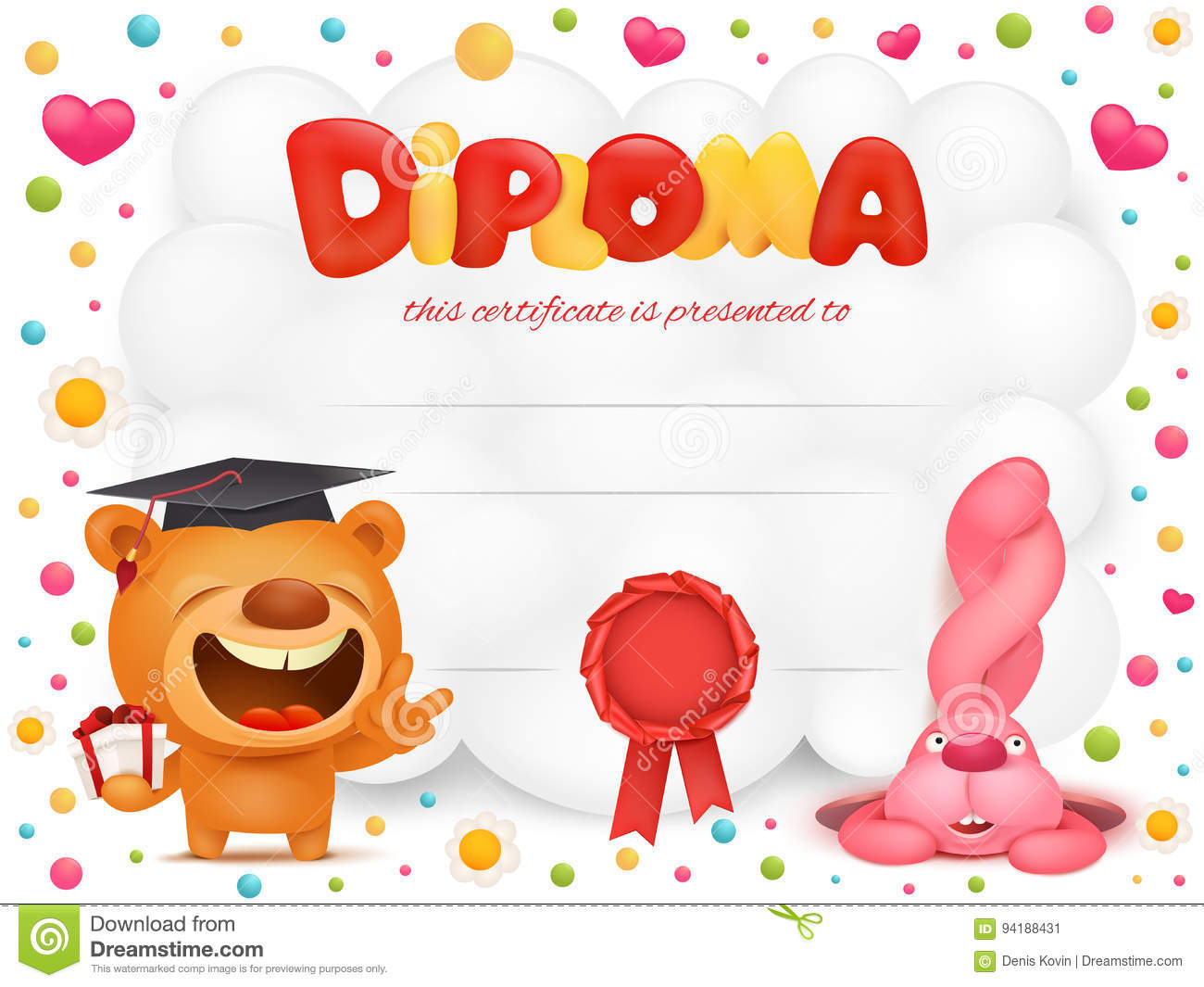 diploma template certificate with teddy bear and pink bunny cartoon