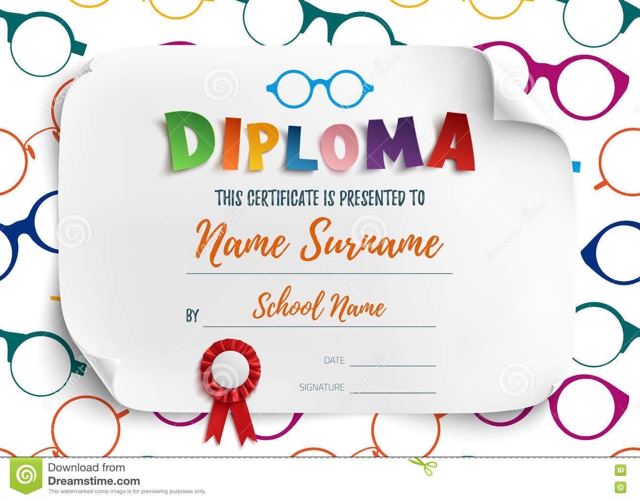 Diploma template for children stock vector illustration 74995245 diploma template for children alramifo Images
