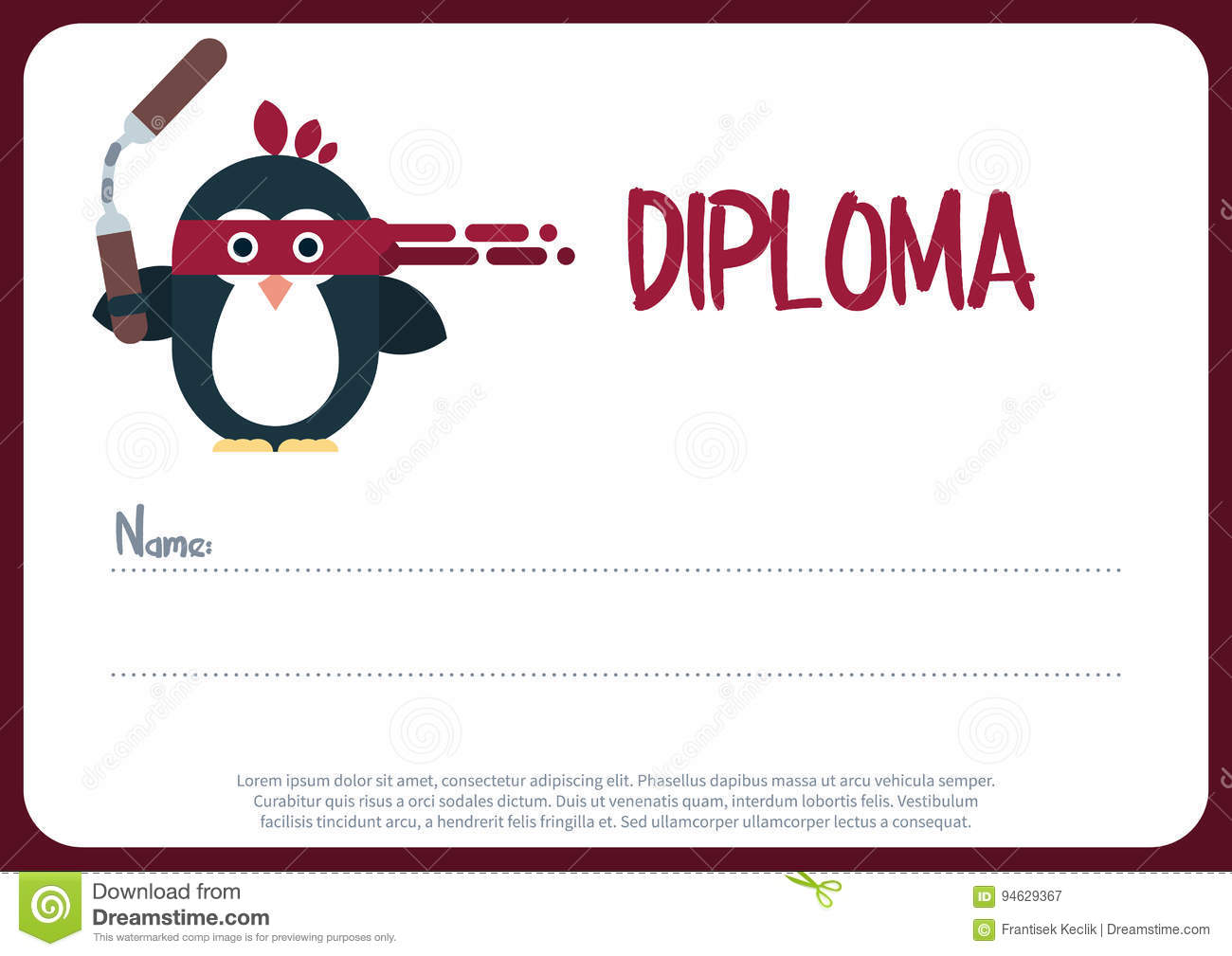 diploma template with flat penguin character stylized as a ninja