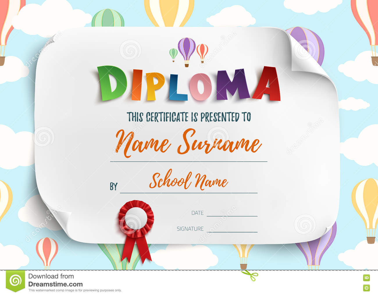 Diploma Template For Kids Stock Vector Image Of