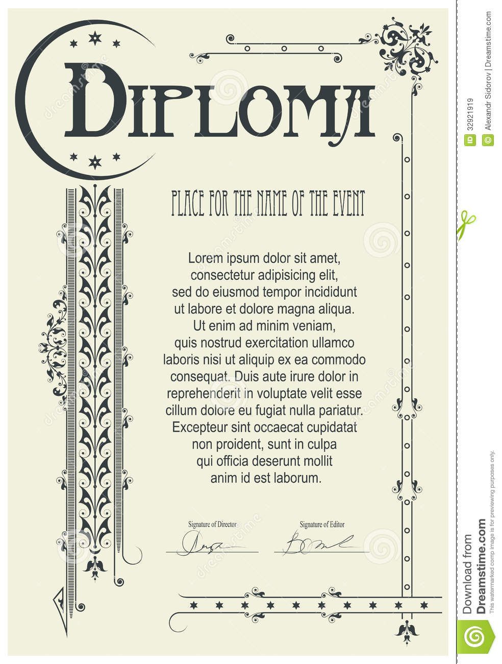 Diploma template stock vector image of number paper for Diplomas and certificates templates
