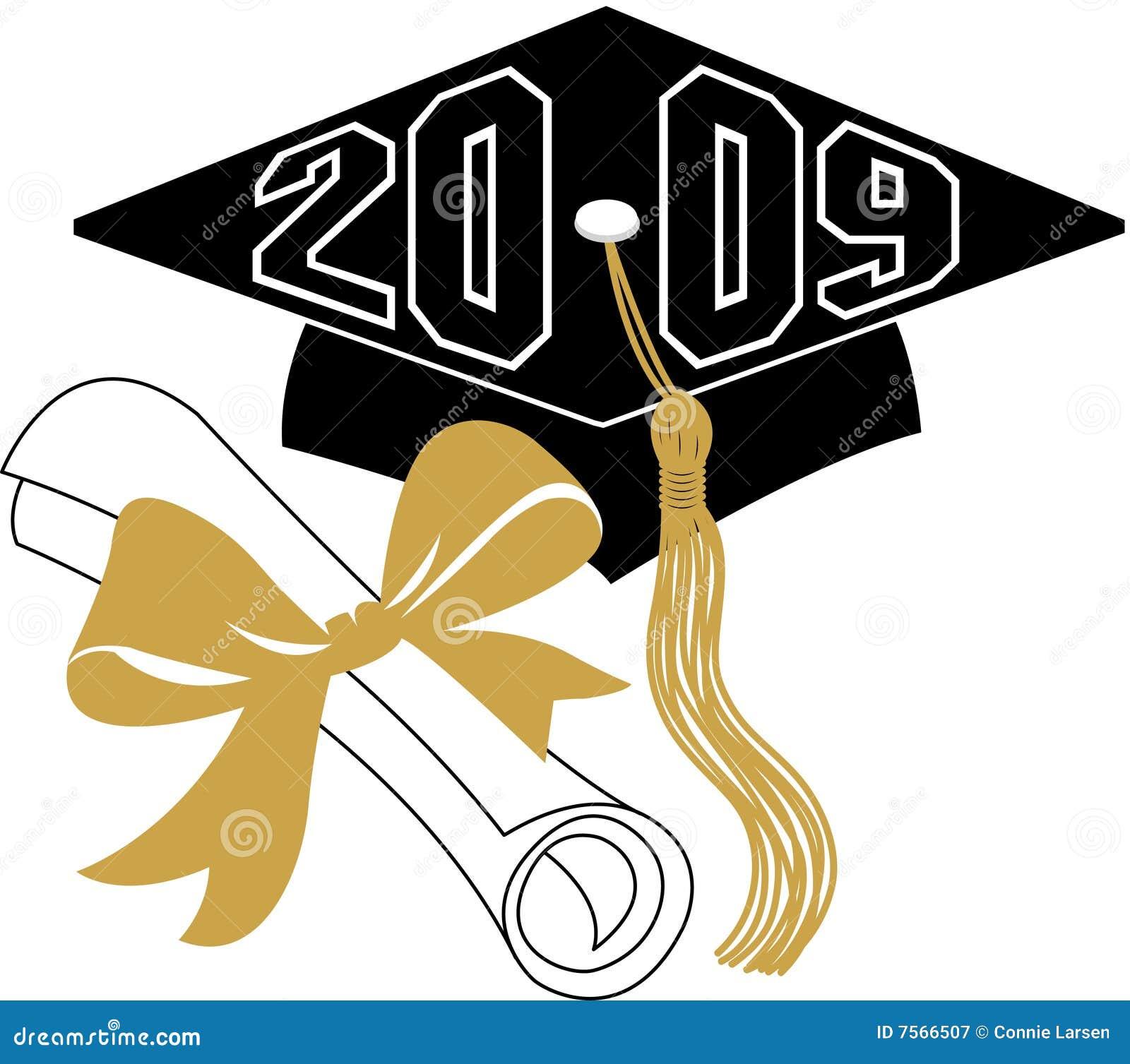 Diploma y casquillo/EPS de la graduación