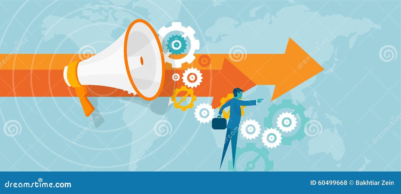 Dirección del líder en el visionario de la visión del trabajo del equipo del concepto del negocio para la ventaja del hombre de n