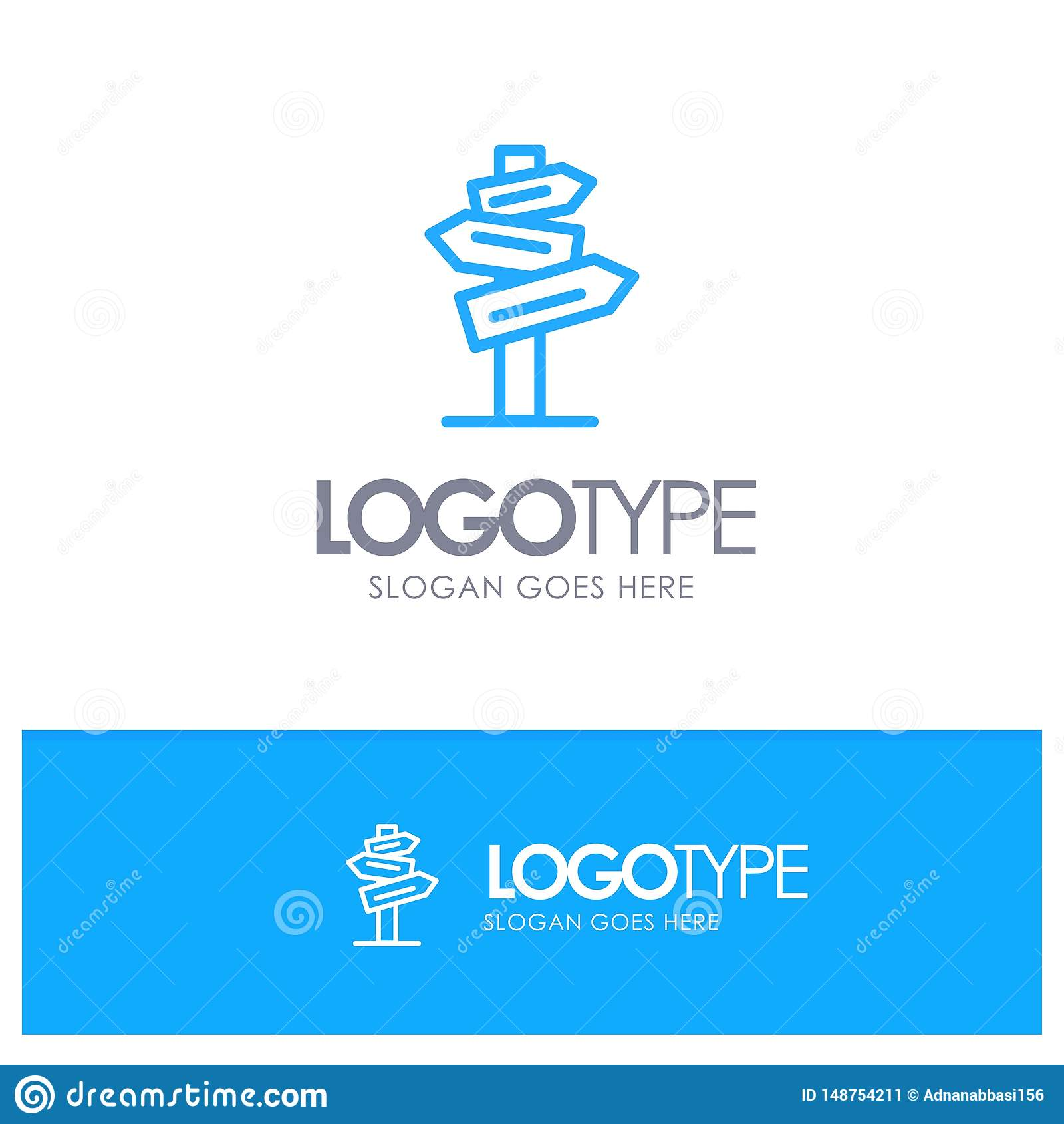Dirección, hotel, motel, sitio Logo Line Style azul