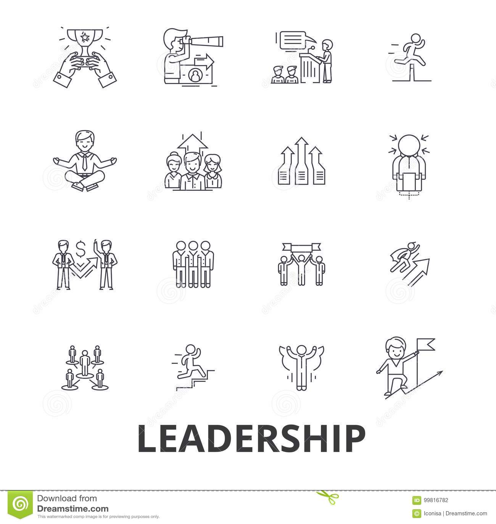 Dirección, líder, gestión, trabajo en equipo, ventaja, desarrollo, éxito, línea iconos de la innovación Movimientos Editable plan